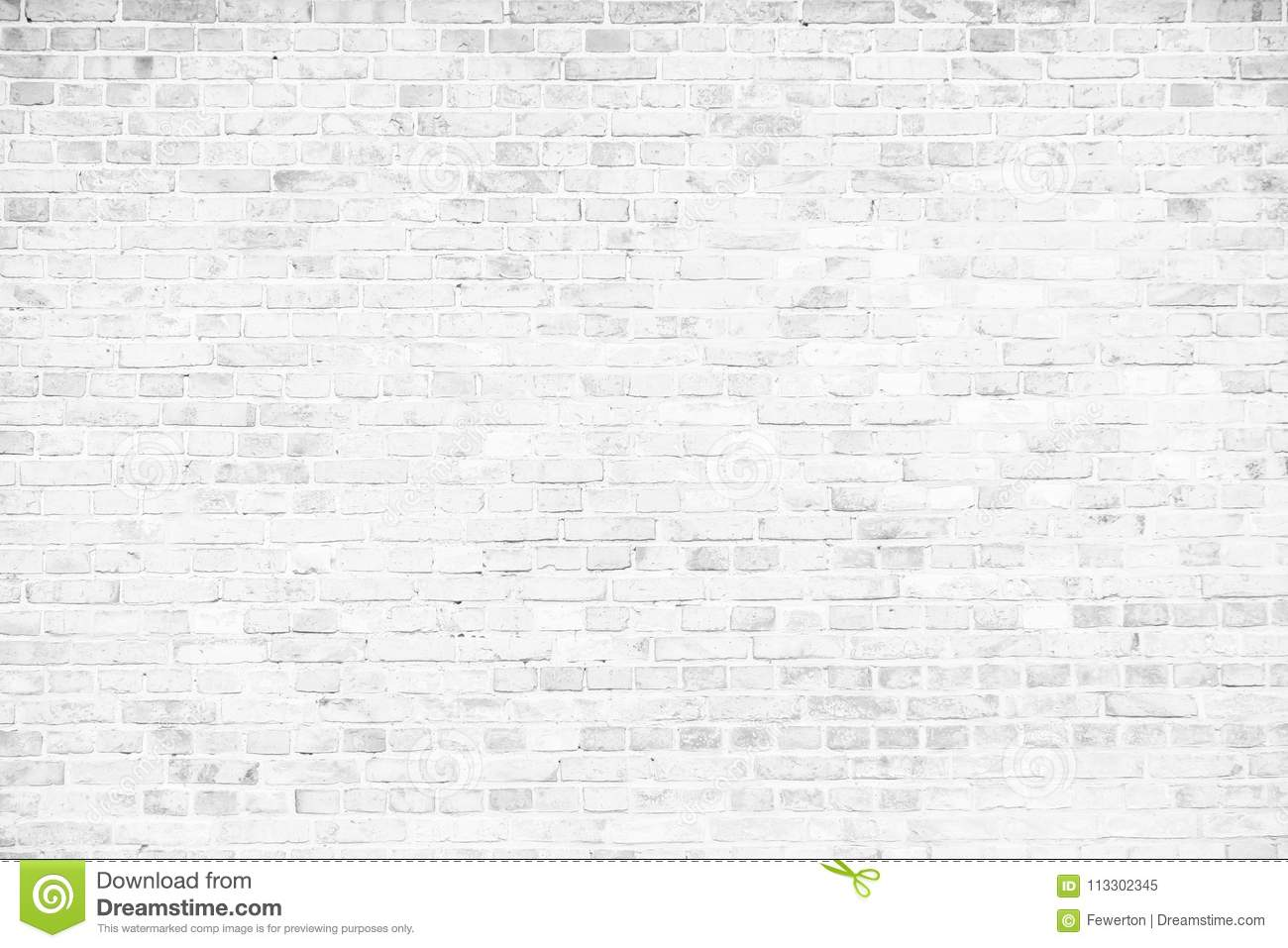 Simple grungy white brick wall as seamless pattern texture background
