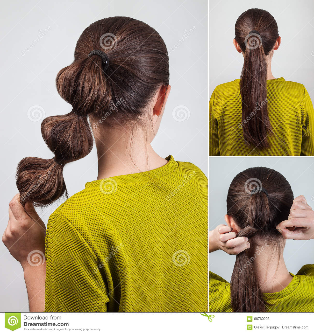 Simple Hairstyle Tutorial Stock Image Image Of Person 68760203