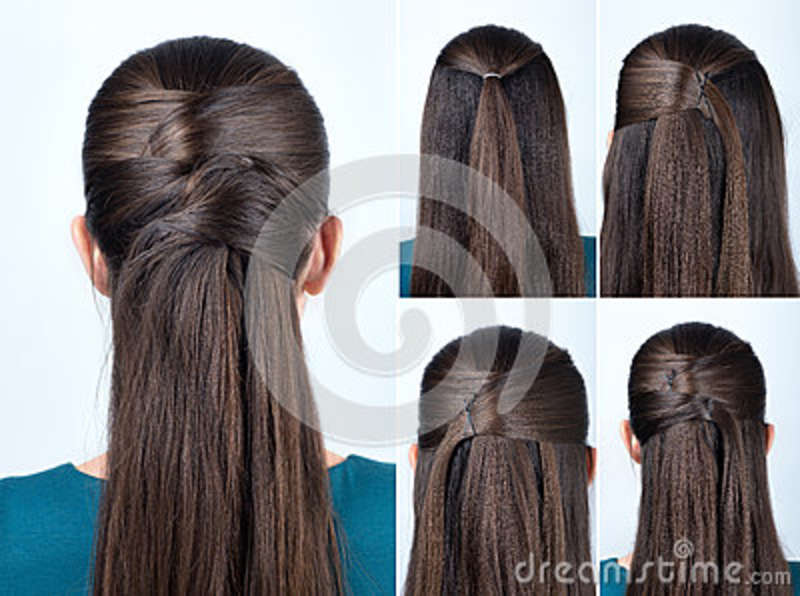Simple Hairstyle Tutorial Stock Image Image Of Beautiful 79359531