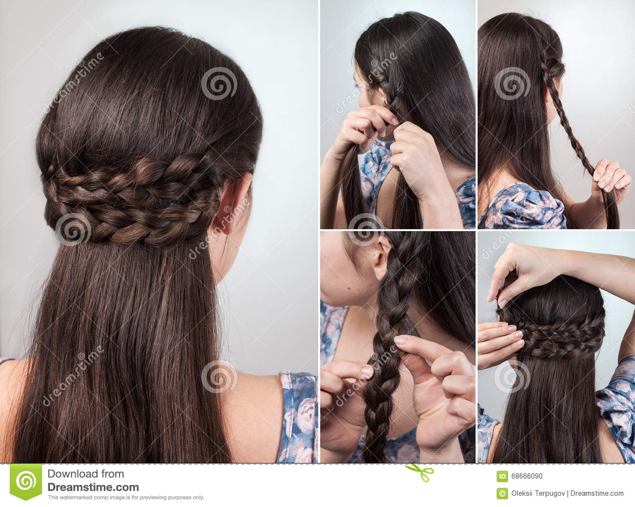 Simple Hairstyle Tutorial Stock Photo Image Of Natural 68666090