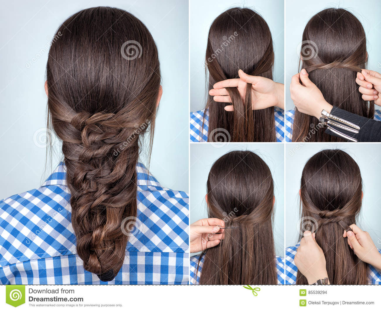 simple hairstyle tutorial stock photo - image: 85539294