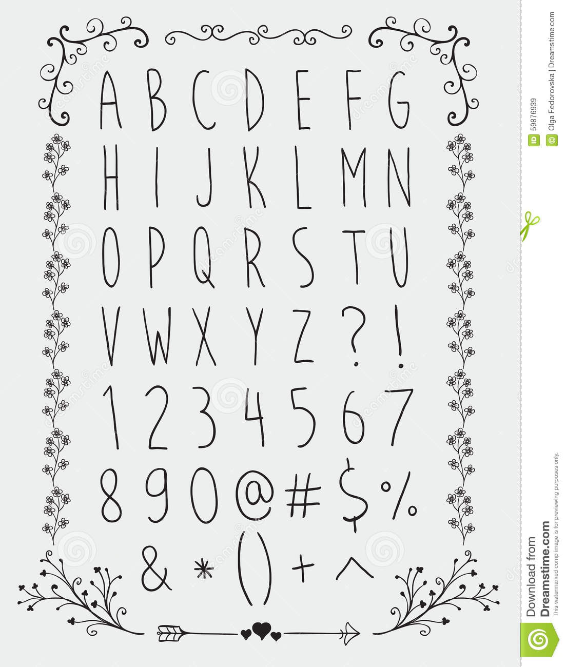 Simple Hand Drawn English Alphabet Letters And