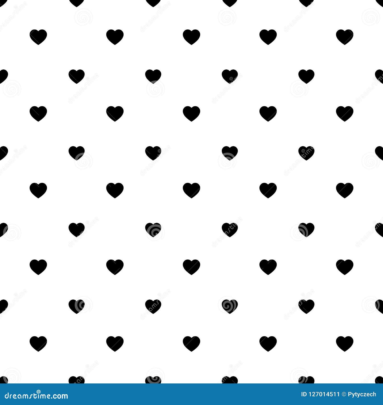 Simple Heart Shape Seamless Pattern In Diagonal Arrangement