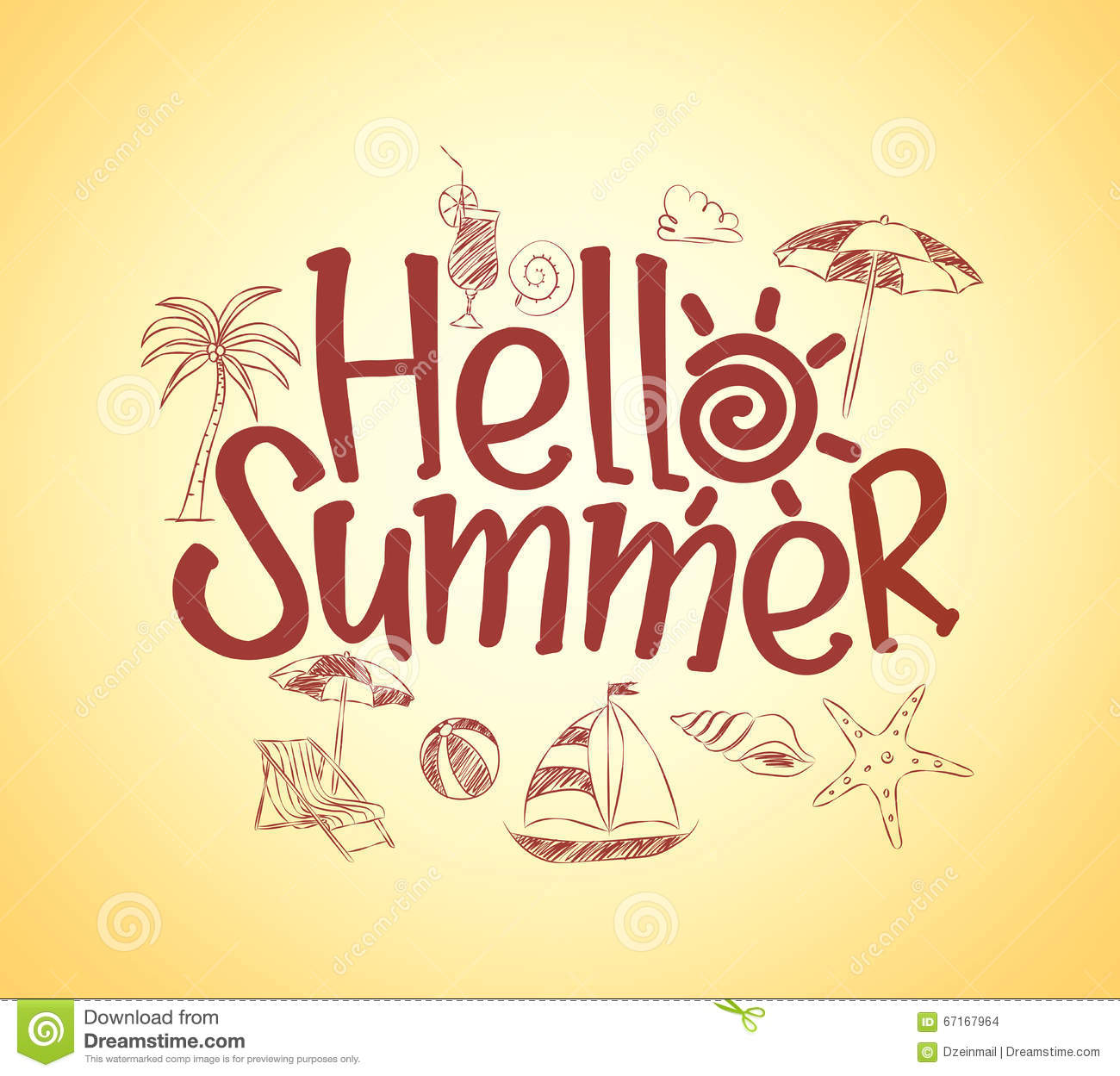 Poster design drawing - Simple Hello Summer Poster Design With Hand Drawing Vector Stock Vector