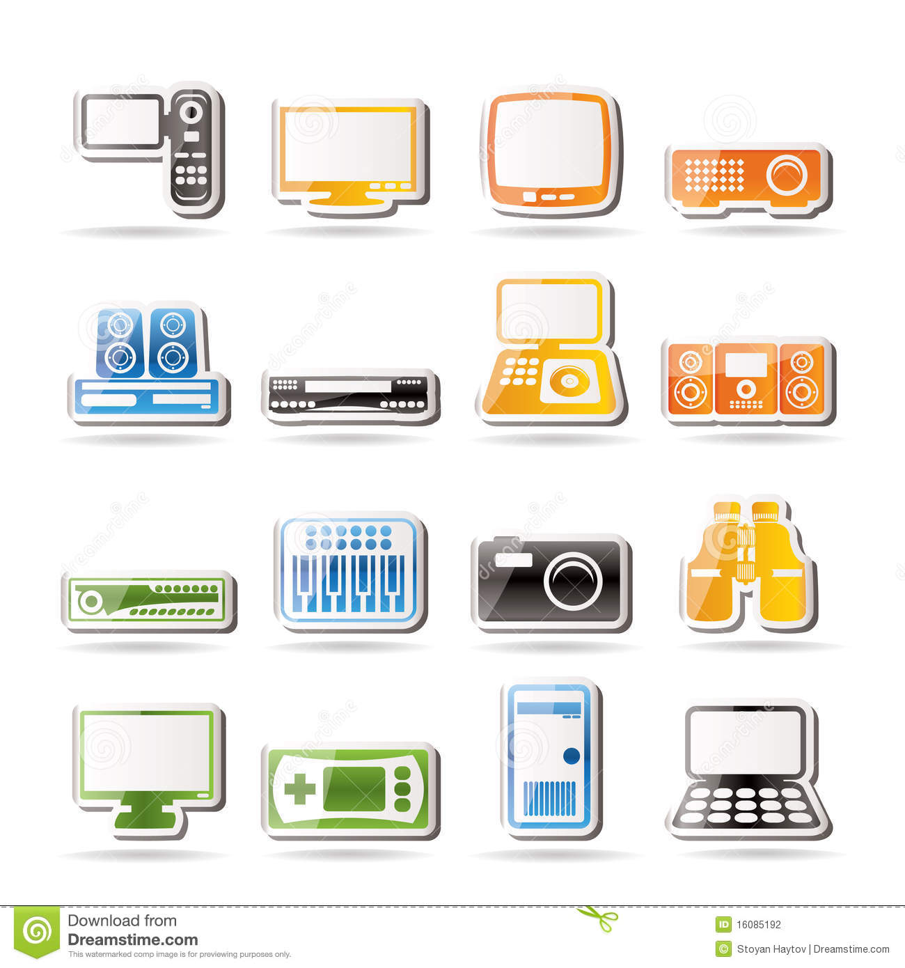 Simple hi tech equipment icons icon set 2