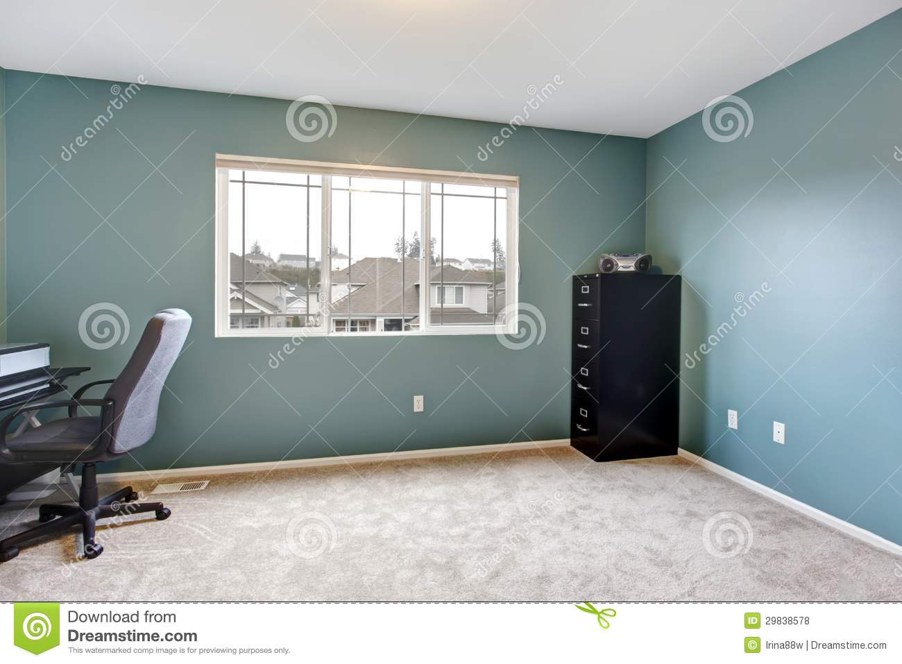 Simple home office room interior with blue walls stock photo image 29838578 - Home office room interior ...