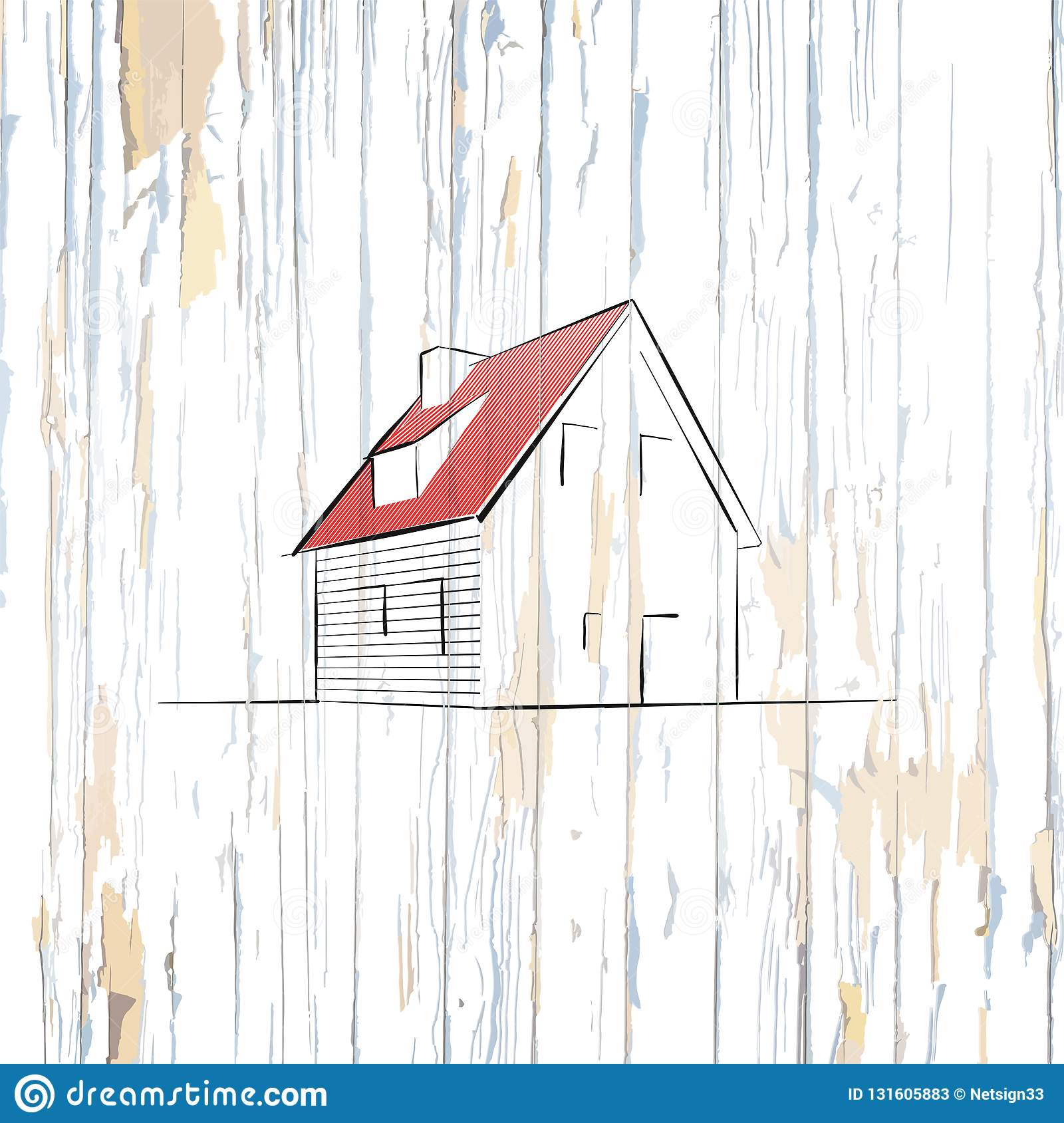 Simple House Drawing On Wooden Background Stock Vector
