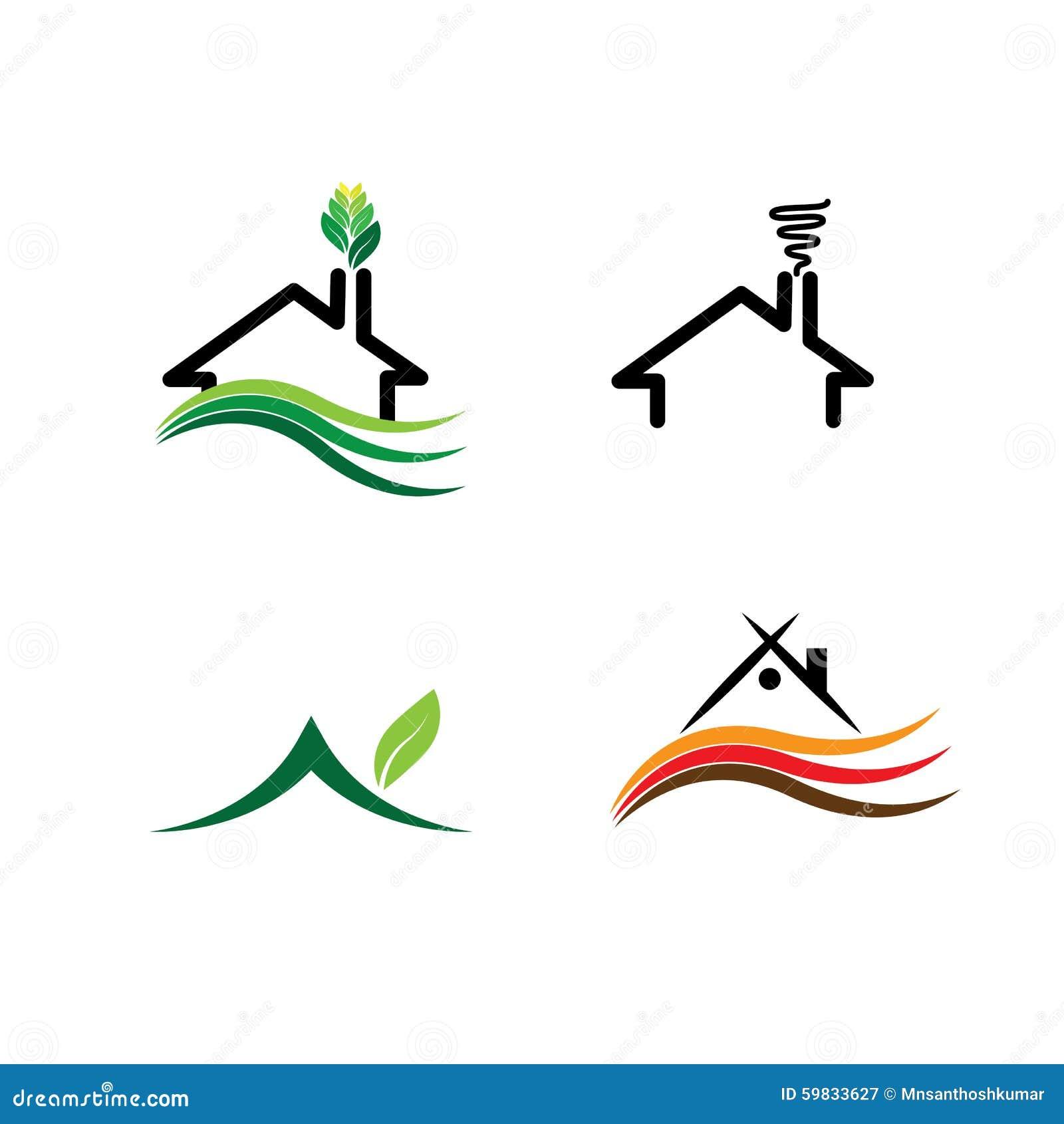 Simple House Eco Homes Set Concept Vector Logos Stock