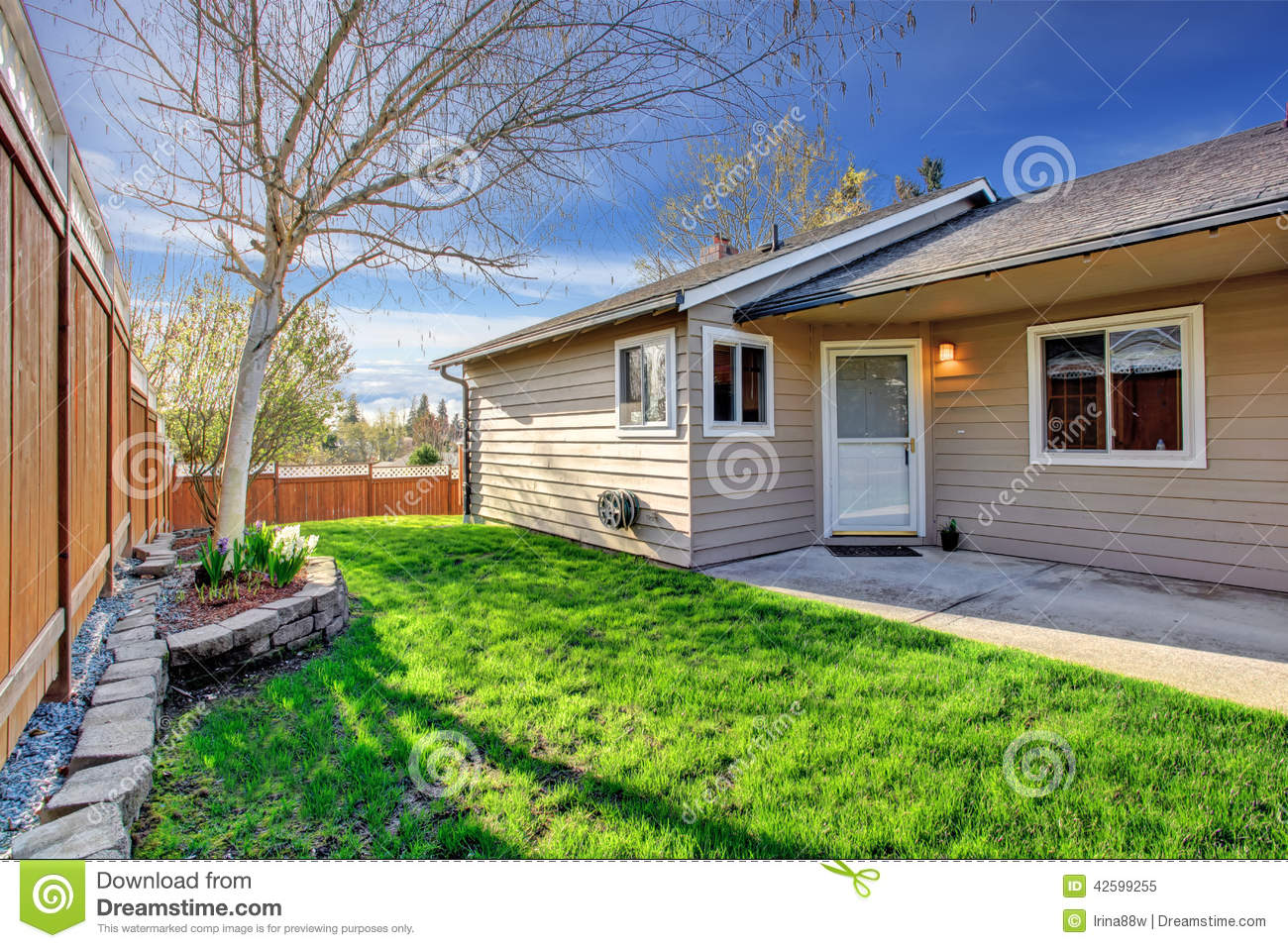 Simple house exterior entrance view stock photo image for Simple house front view