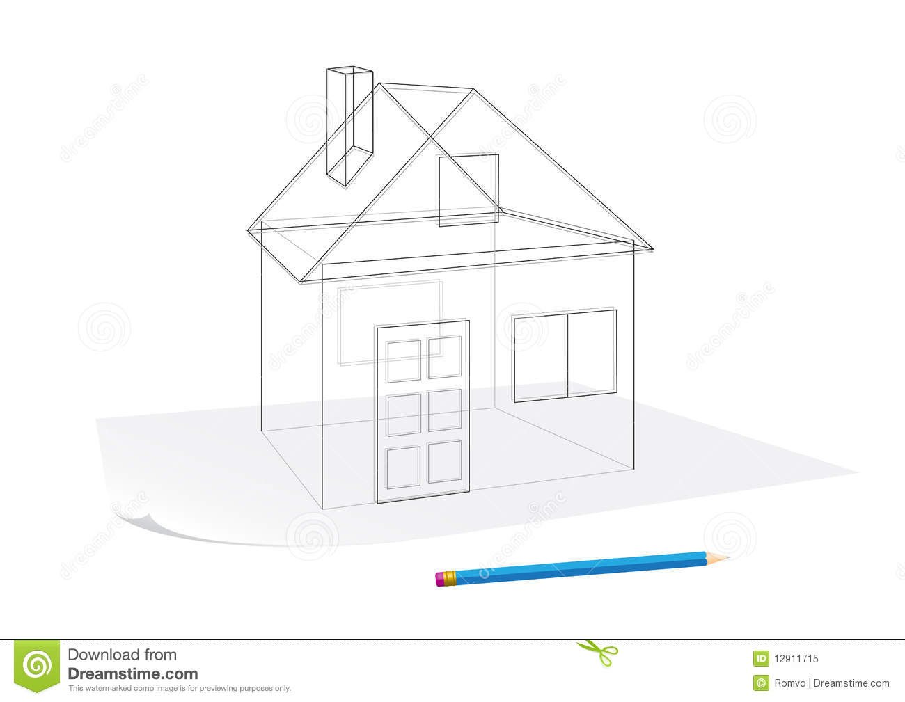 Simple house sketch royalty free stock photo image 12911715 for Minimalist house sketch