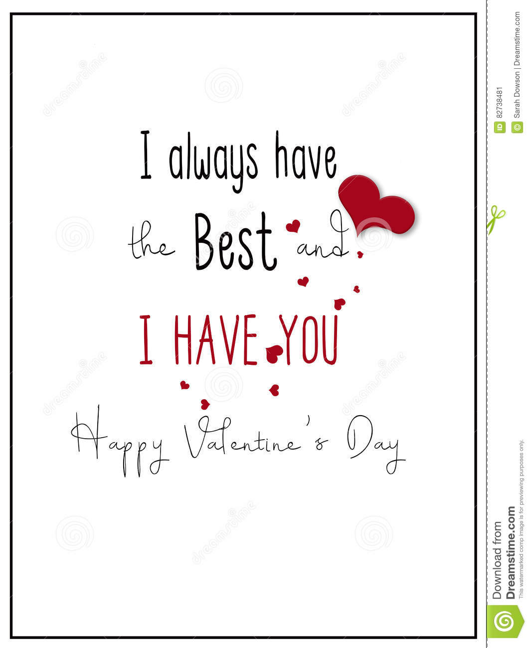 Simple I Have You Valentine Card Illustration Image 82738481 – Valentine Card Words