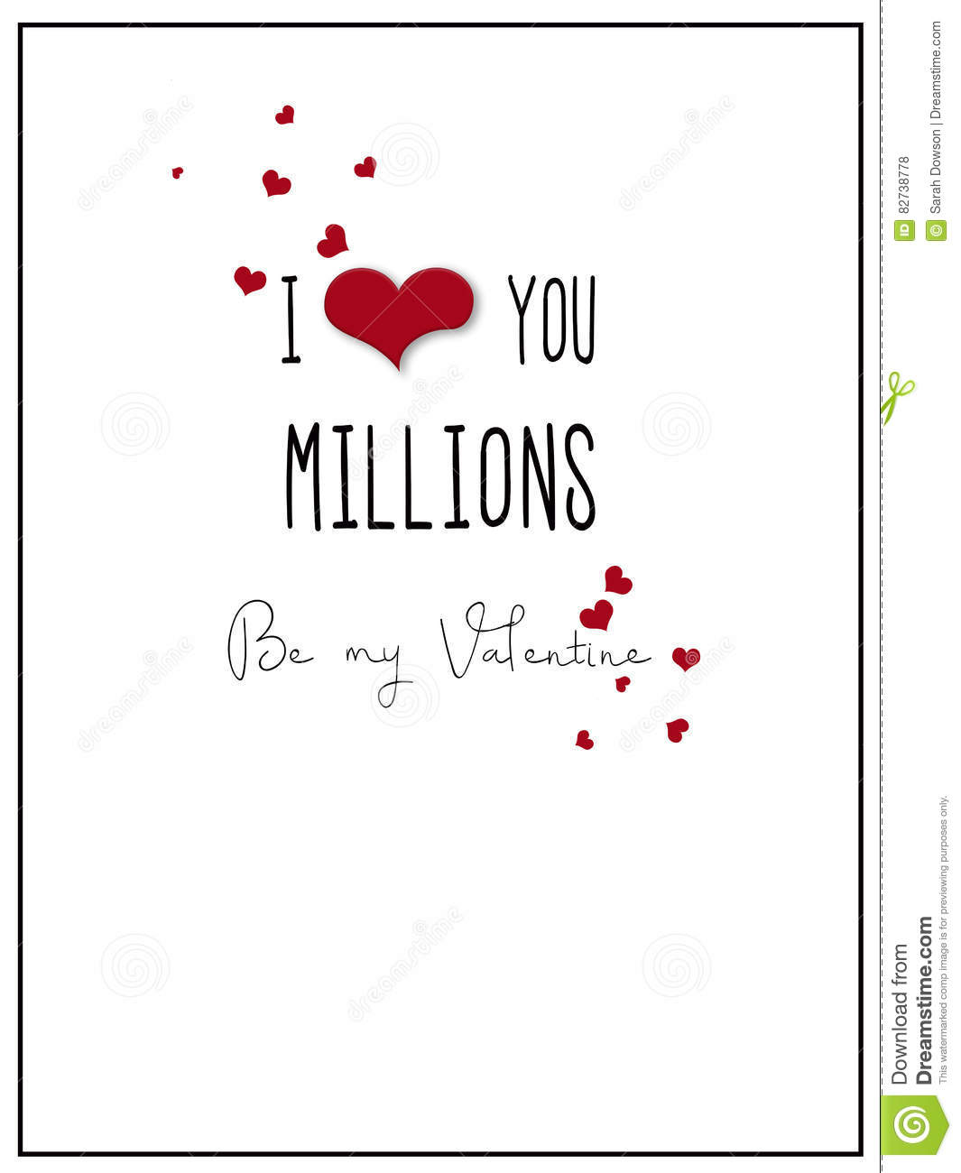 Simple I Love You Millions Valentine Card Illustration – Valentine Card Words