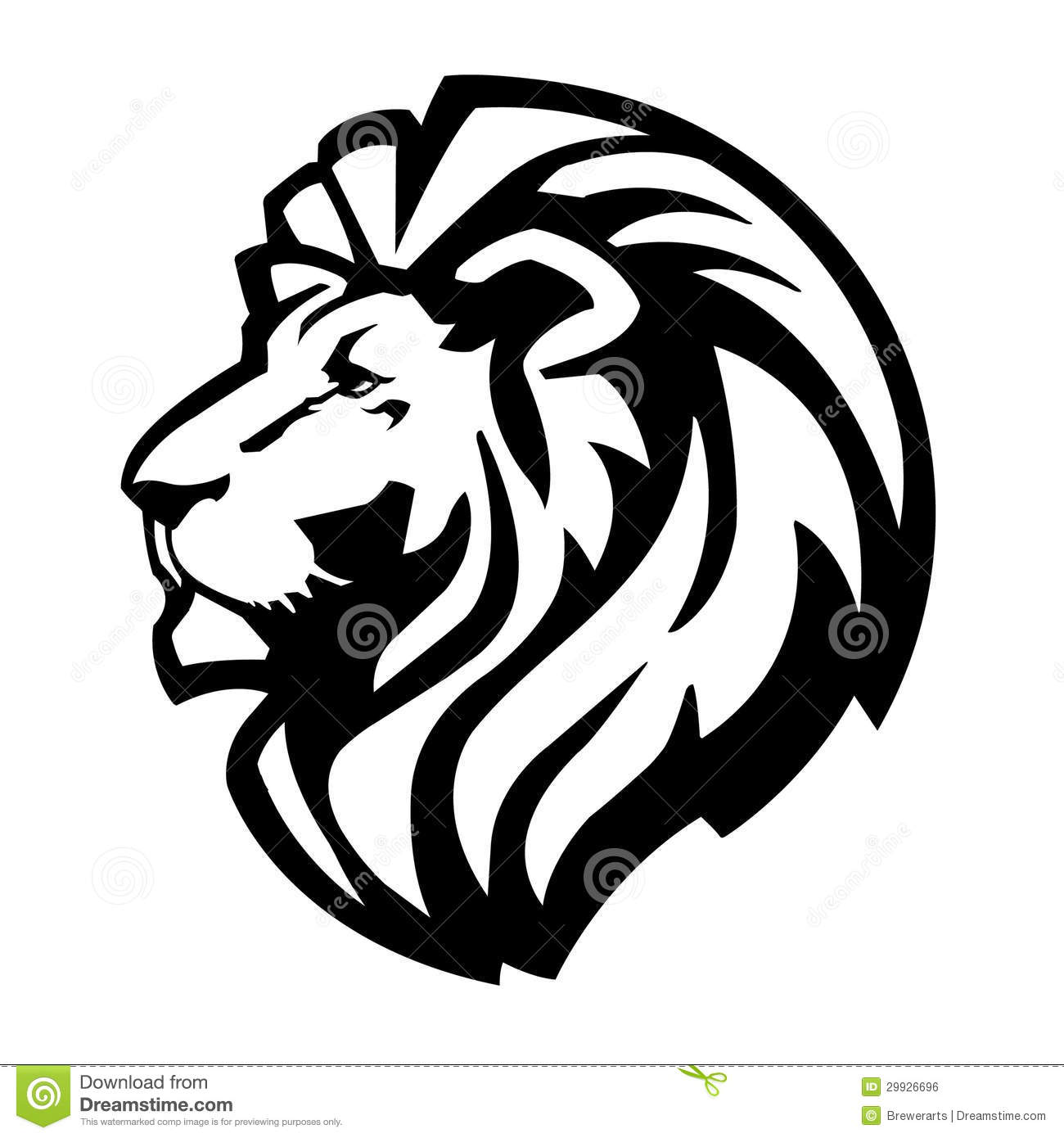 simple, icon of a lions head.