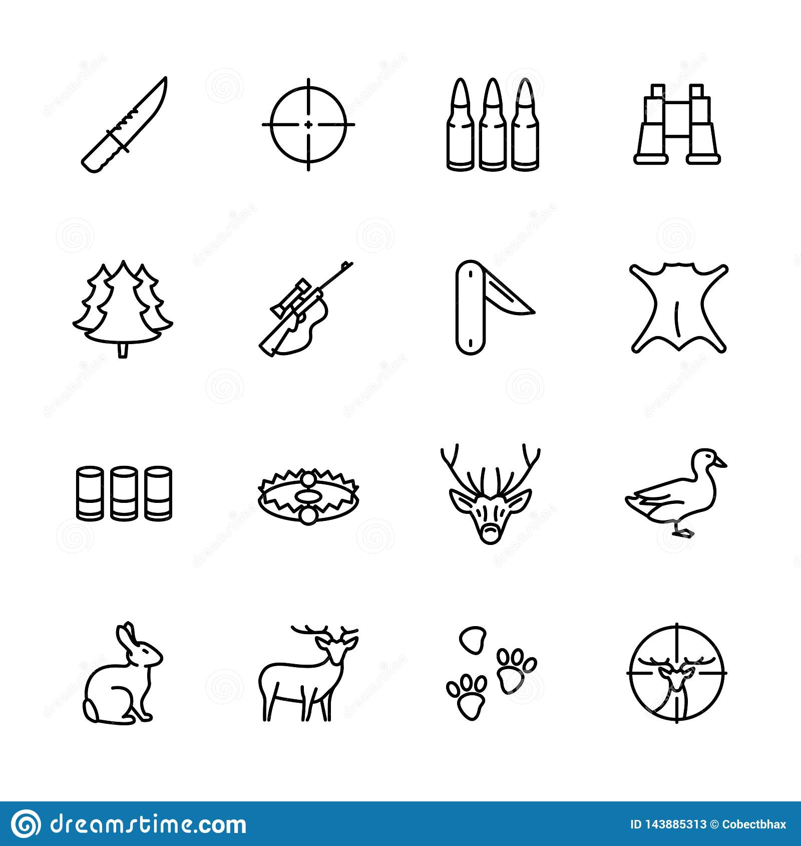 Simple icon set forest hunting. Contains such symbols knife, bullets, ammunition, hunting rifle, weapon, binoculars