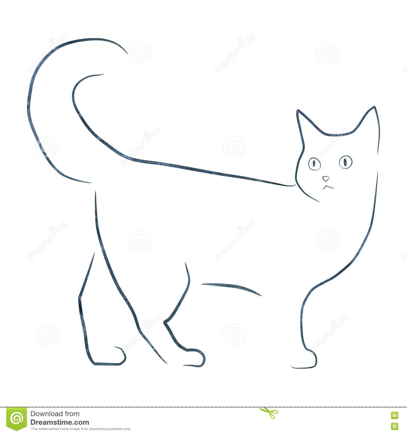 Assez Simple Illustartion De Chat De Dessin Au Trait Photo stock - Image  EY87