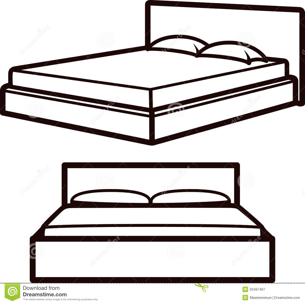 Royalty Free Stock Photography Simple Illustration Beds Image20497467 on Plan View Furniture Clip Art