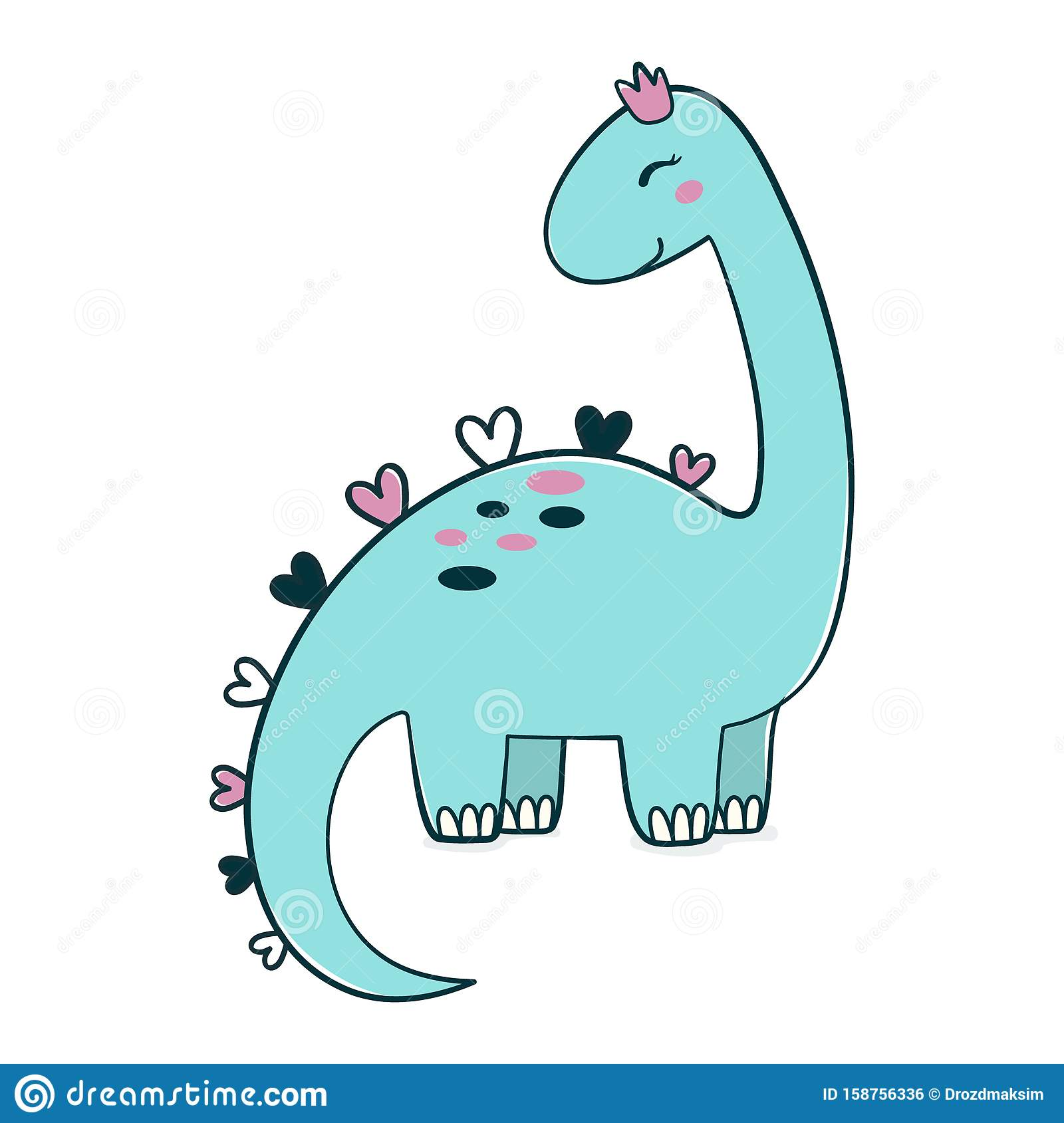 Simple Illustration Of Cartoon Dinosaur In Crown, Picture ...