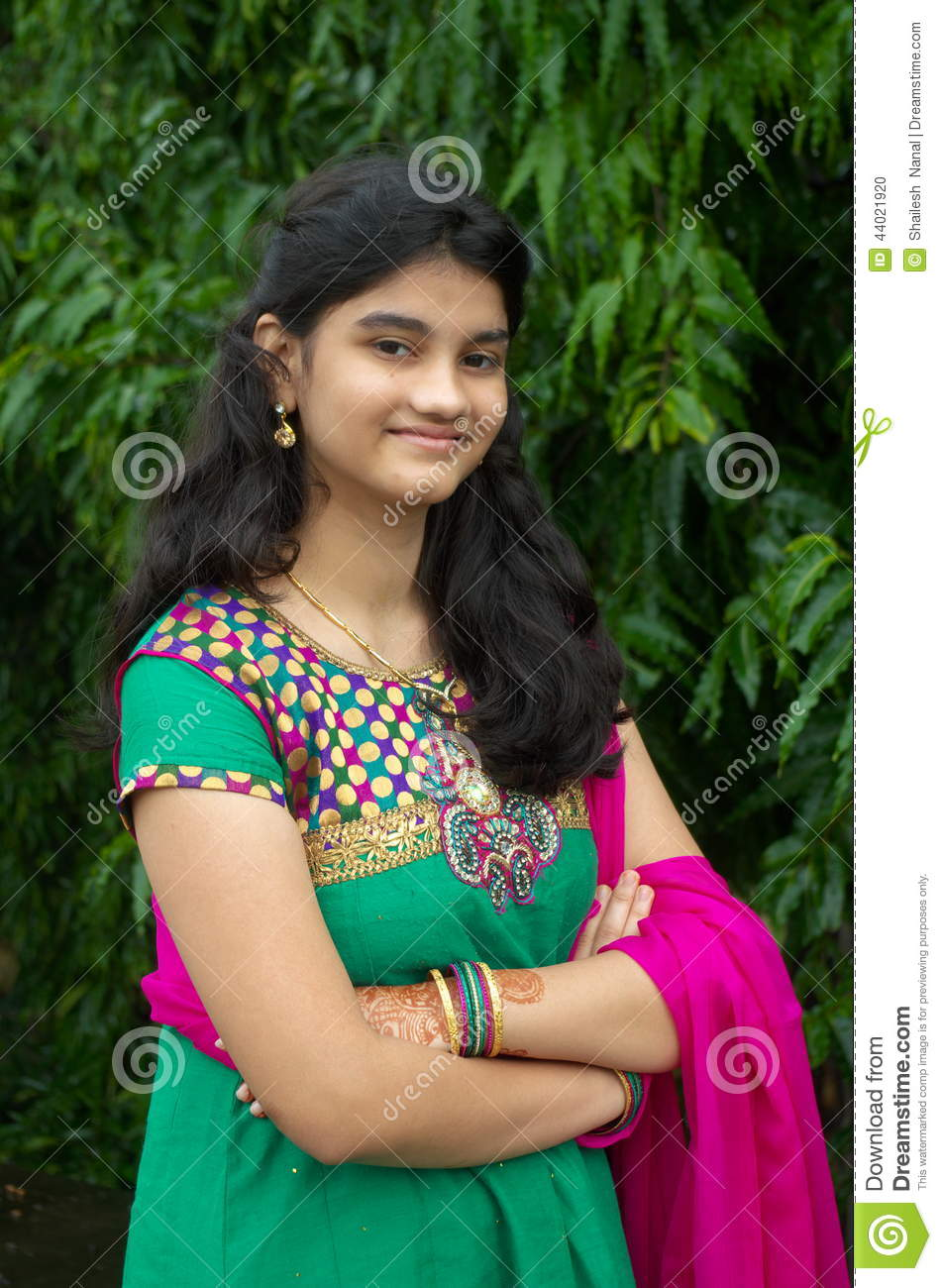 A simple Indian girl stock photo. Image of outdoor, green - 44021920