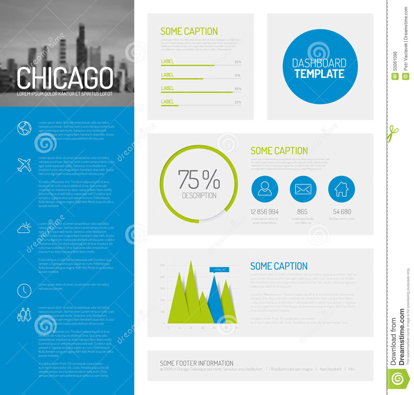Simple infographic dashboard template with flat design graphs and ...