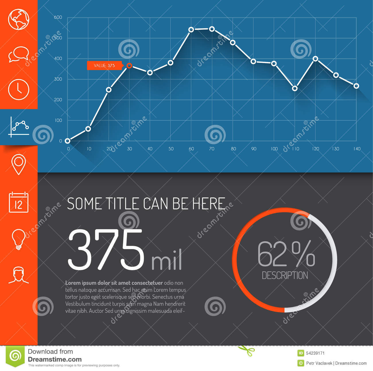Simple Infographic Dashboard Template Stock Illustration ...