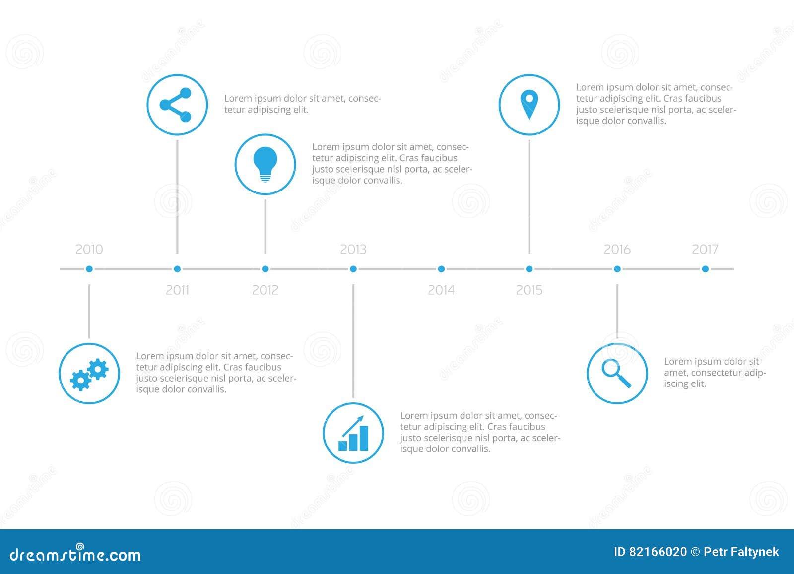 simple infographic timeline - sky blue stock illustration