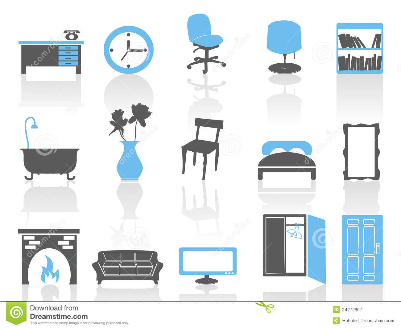 Simple Interior Furniture Icons Set Blue Series Stock Vector