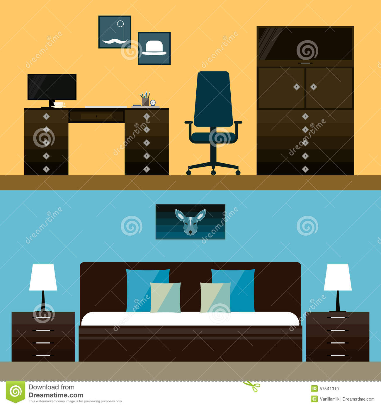 Download Simple Interior Illustration In Trendy Flat Style With Mens Room And Bedroom On