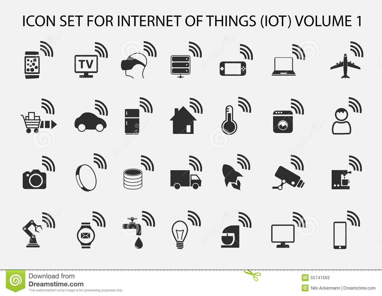 Simple Internet Of Things Icon Set Stock Illustration