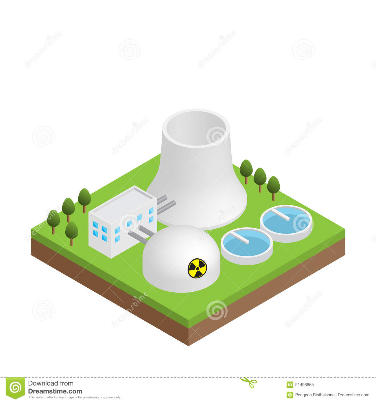 Nuclear Power Plant Simple Diagram Wiring Schematic Isometric Stock Vector Illustration Of Basic