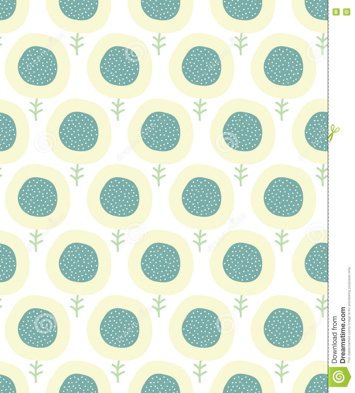 simple kids flower pattern. doodle pastel seamless background. cute