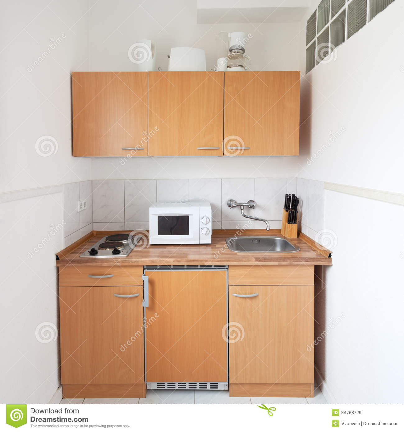 Simple kitchen with furniture set stock image image for Small kitchen cabinet set