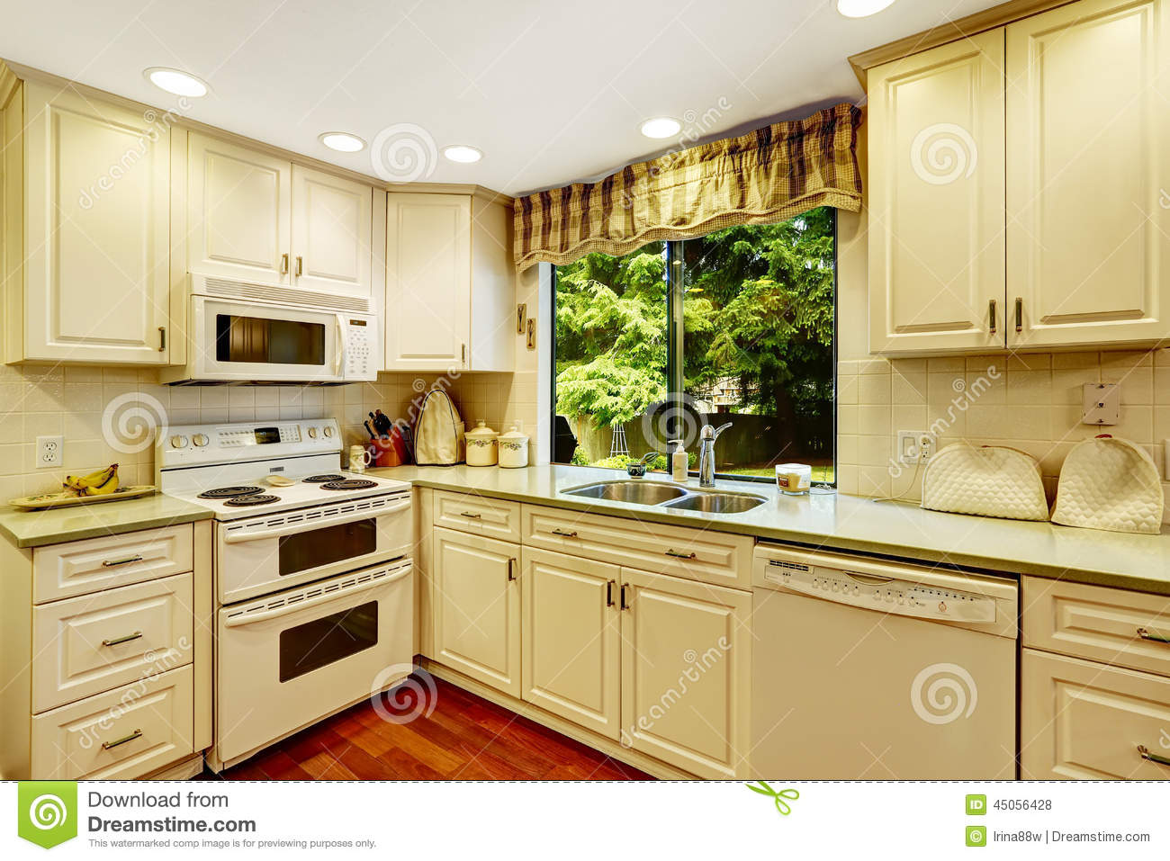 Simple kitchen interior in old house stock photo image for Simple home interior design kitchen