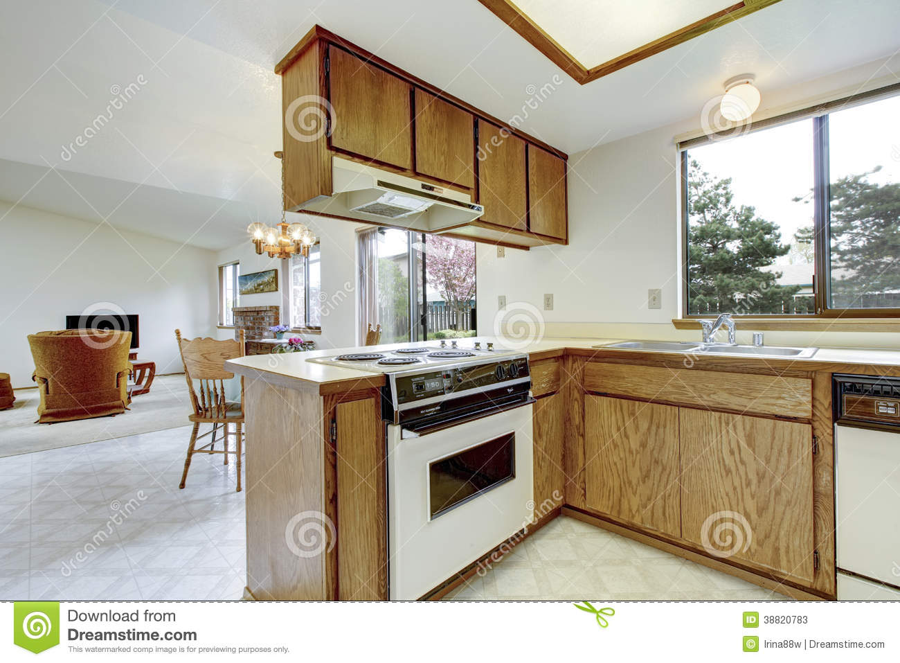 Simple kitchen room interior stock photo image 38820783 for Simple kitchen