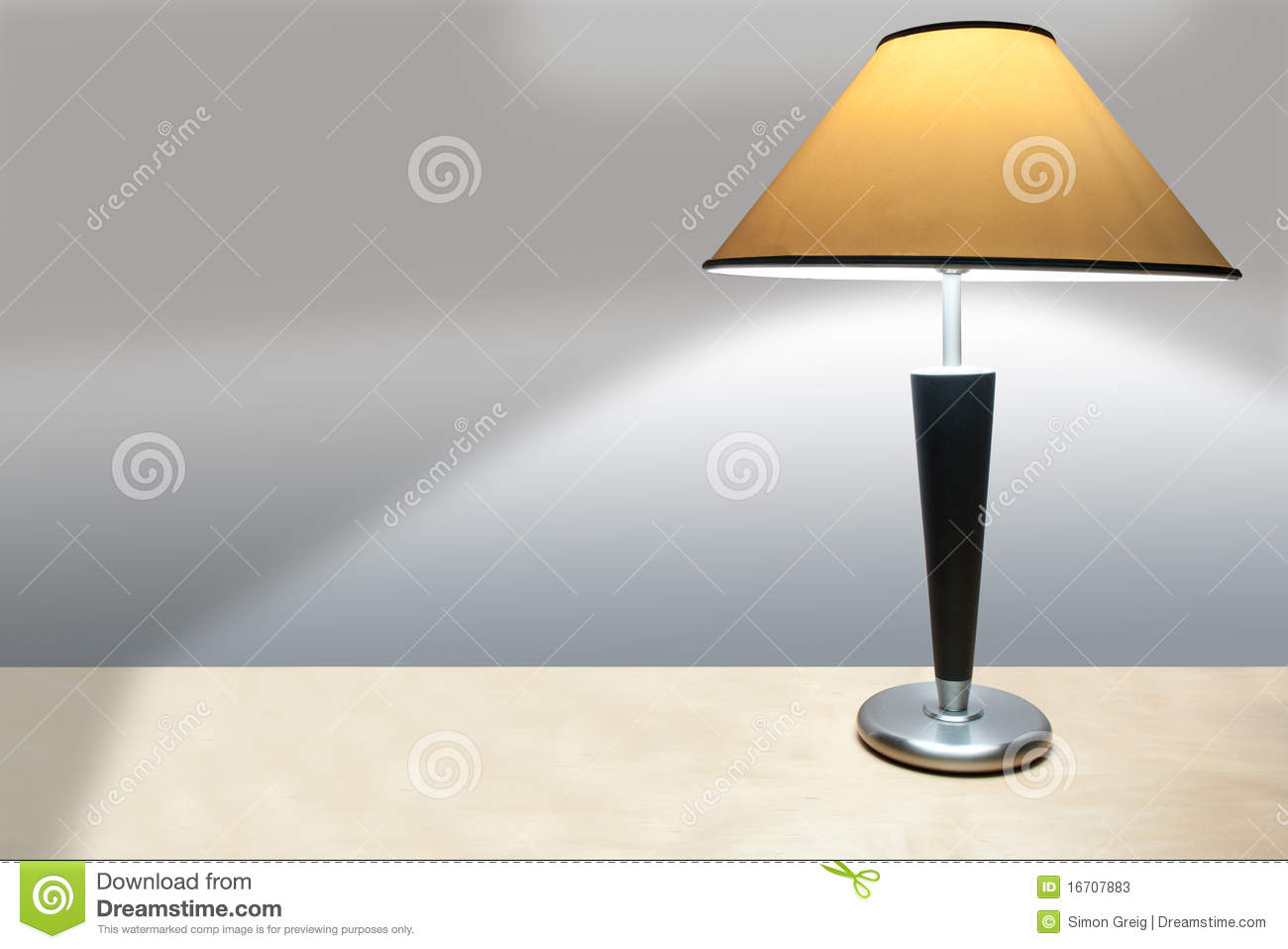 Simple Lamp A Desk Casting A Shadow Stock s Image