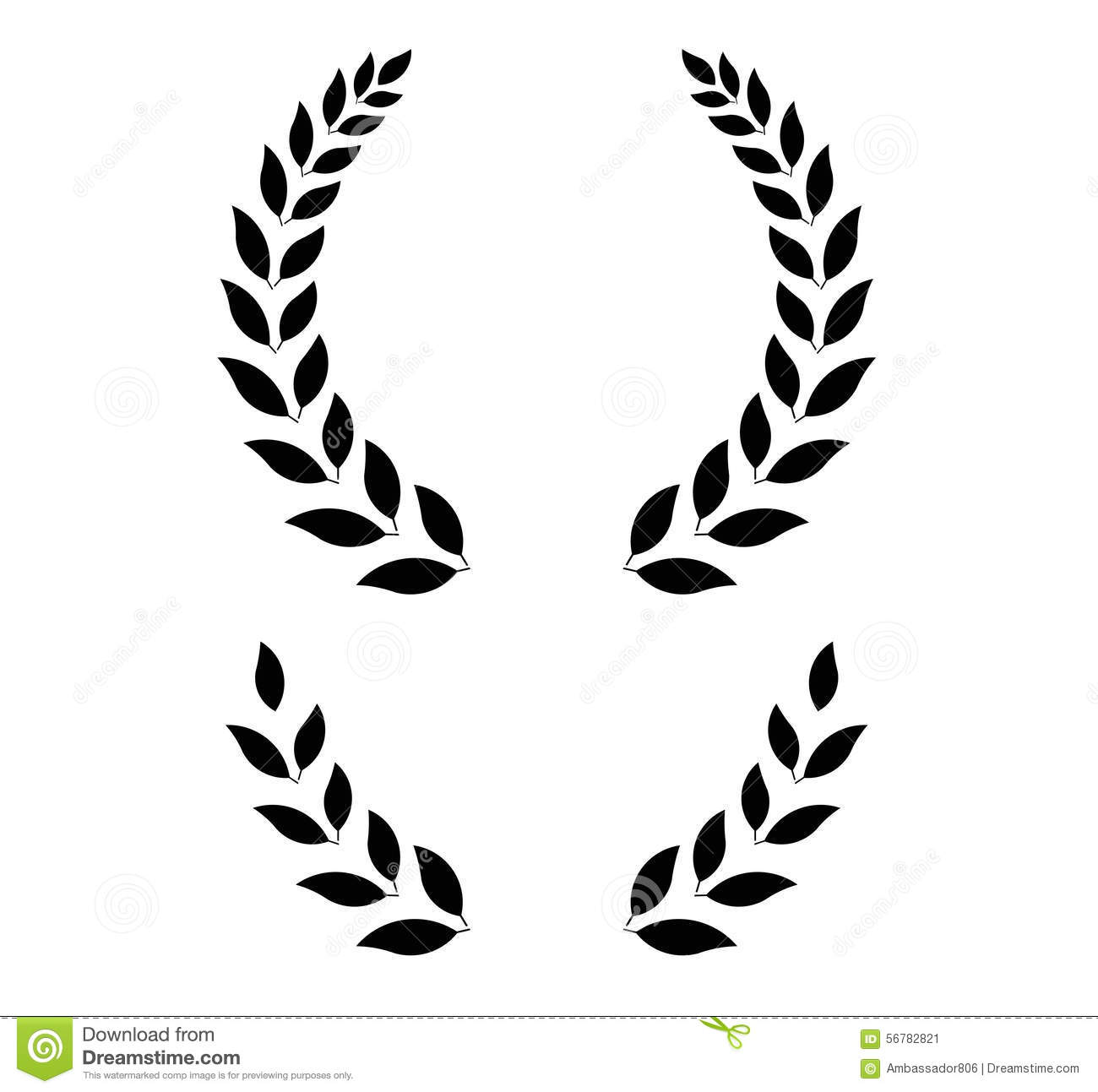 Simple laurel wreath vector illustration stock vector for Laurel leaf crown template