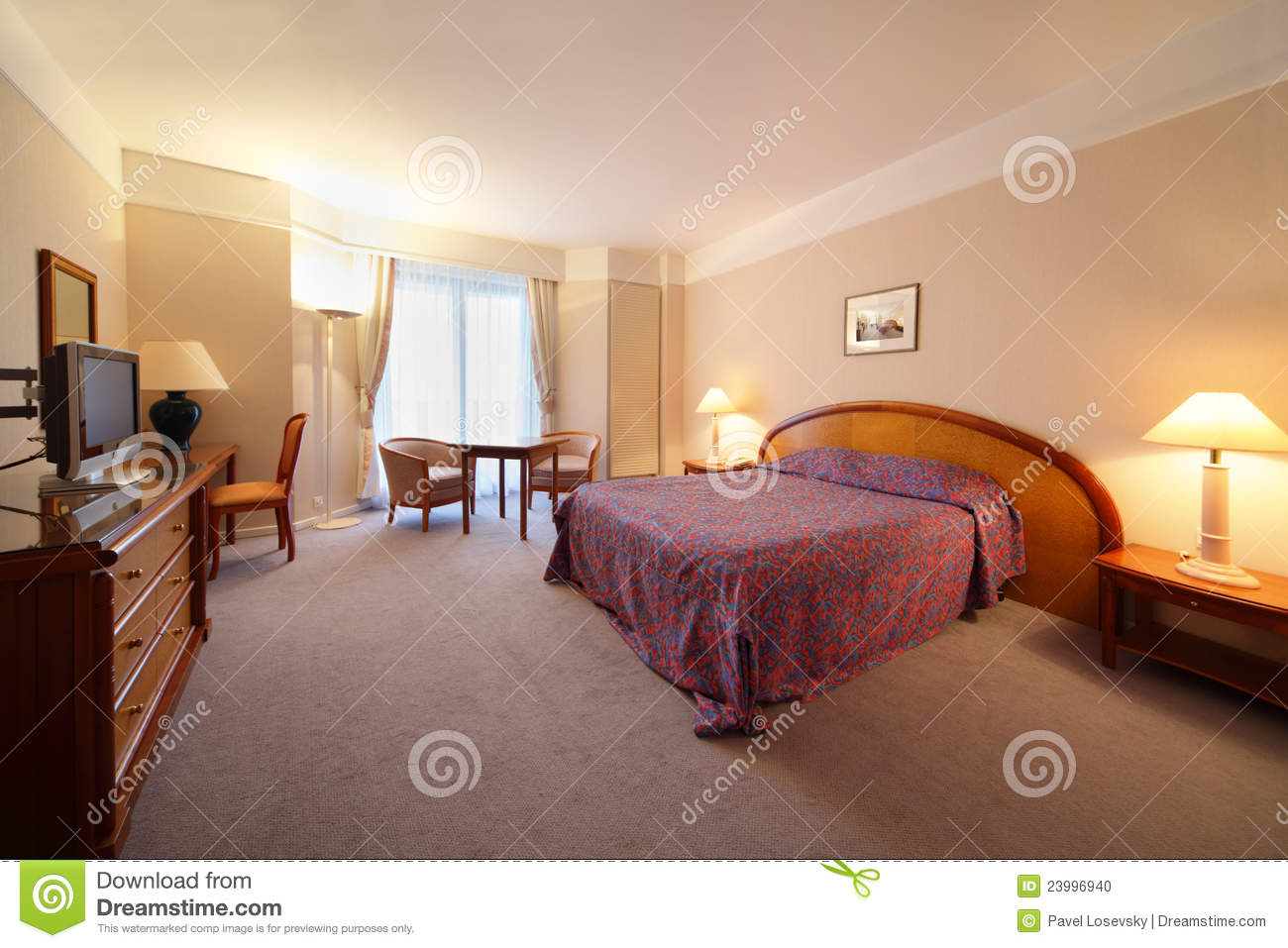 Simple light comfortable bedroom in hotel stock photo for Comfy hotels resorts