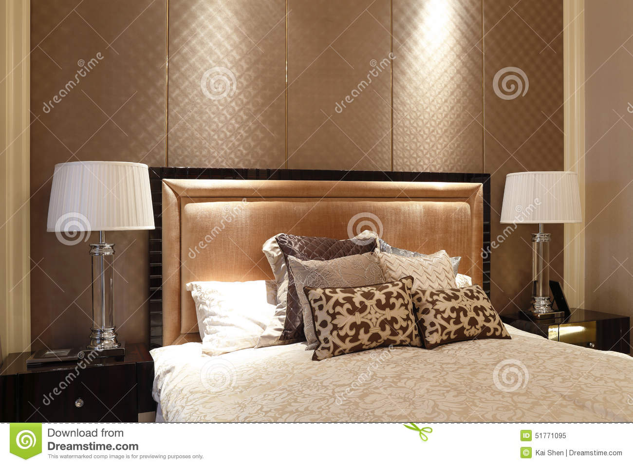 Simple Like A Hotel Bedroom In The Apartment Stock Photo