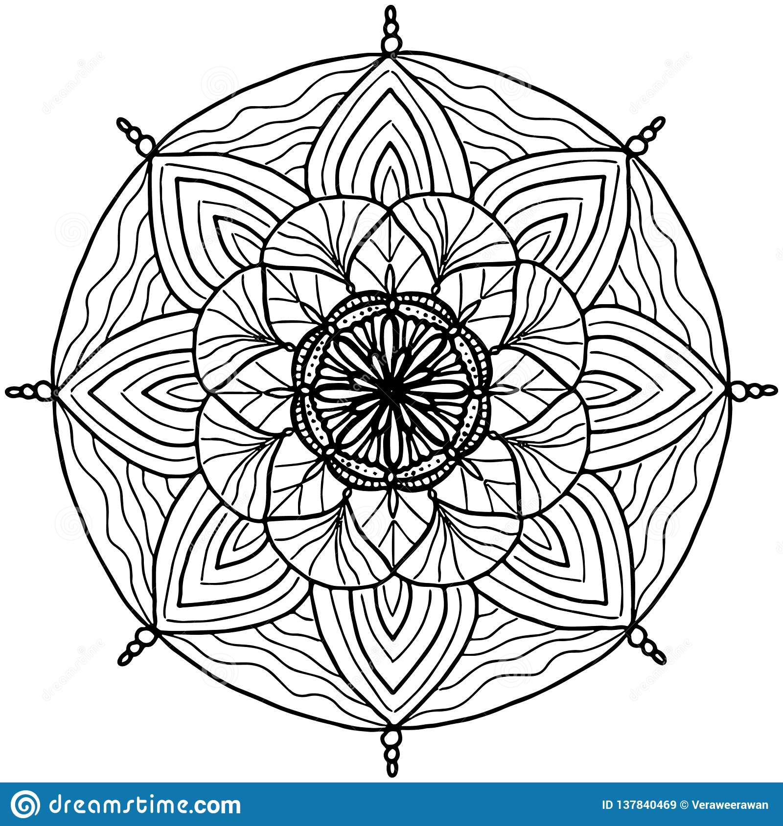 Simple Line Art Geometric Mandala Vector Background ...