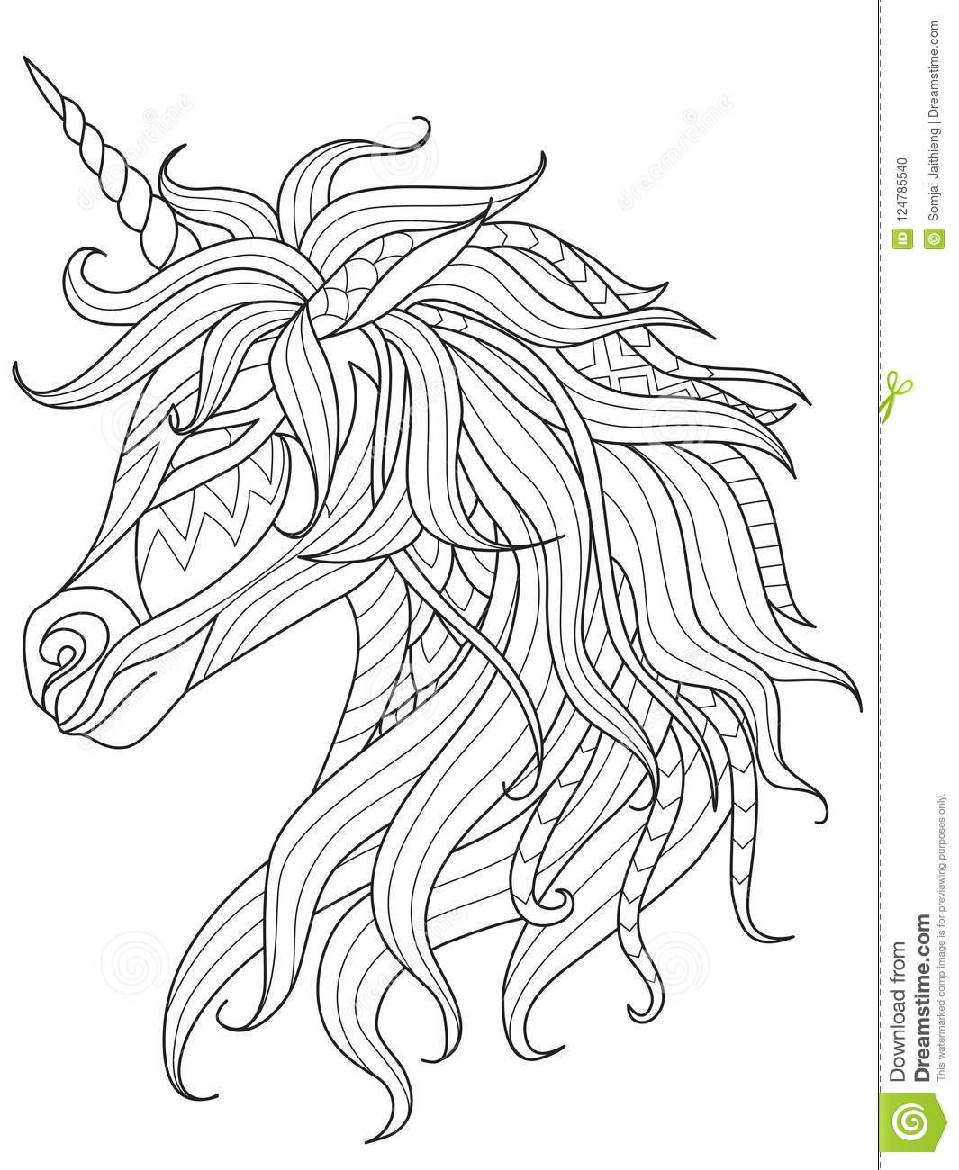 - Simple Line Art Of Unicorn For Design Element And Coloring Book On