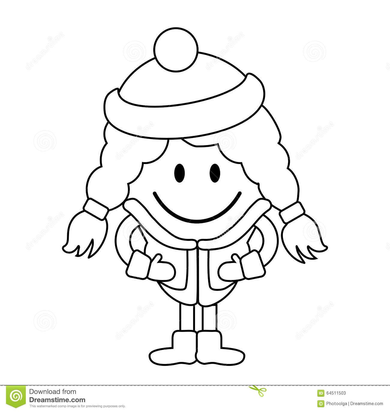 Line Drawing Little Girl : Simple line drawing cute little girl in winter clothes