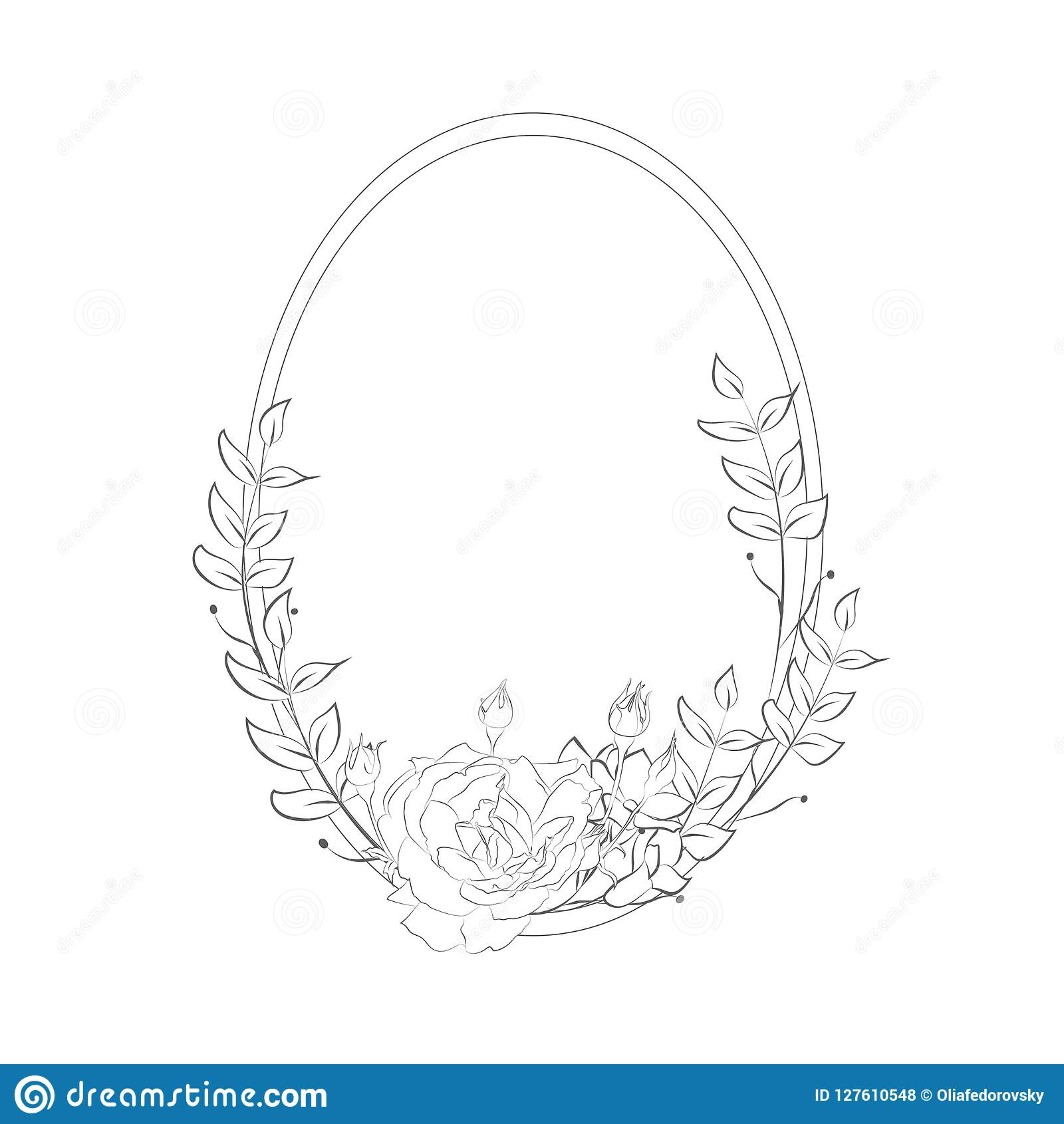 Simple line drawing floristic frame border with delicate cotton flowers rose forget me not branches plants with round geometric shape