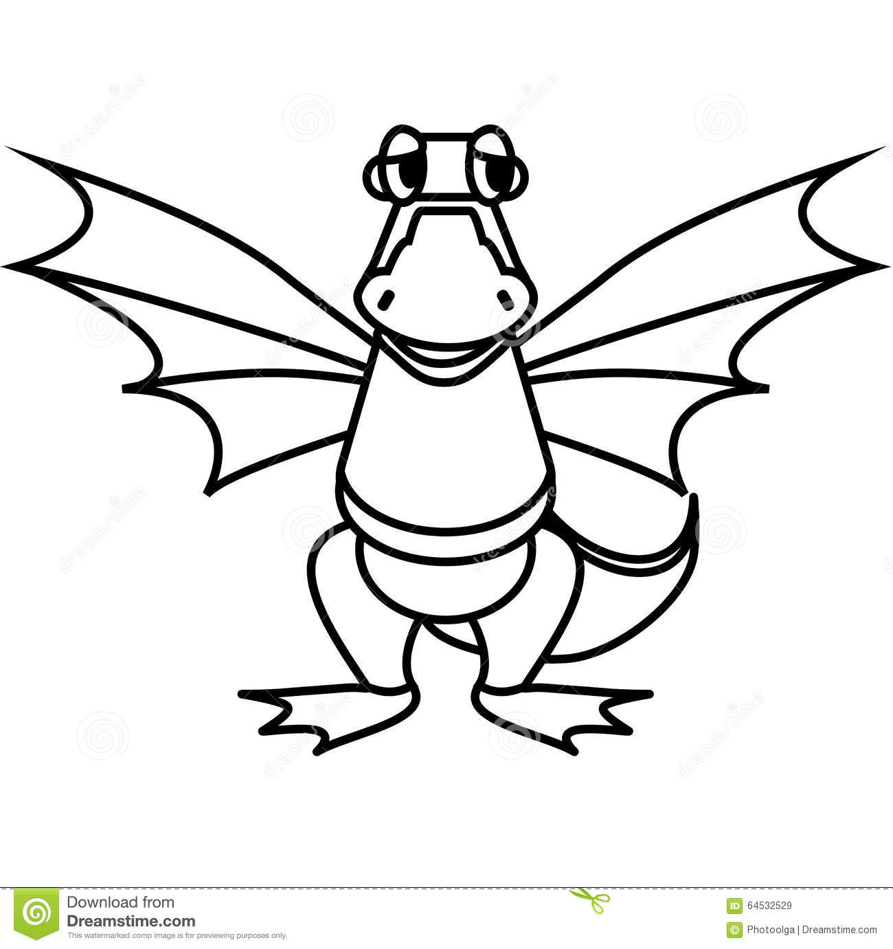 Line Drawing Pictures : Simple line drawing kind dragon stock vector