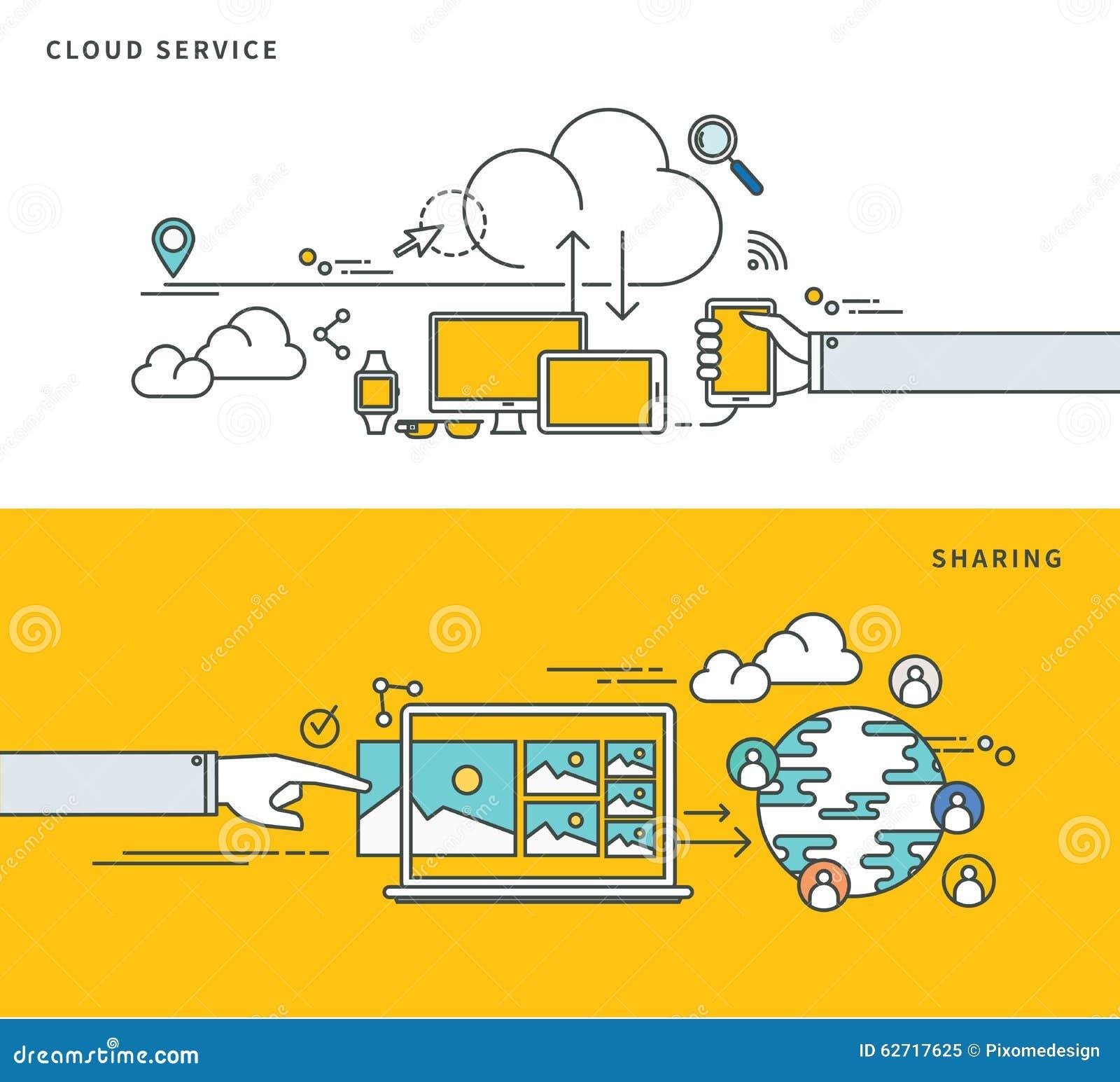 Simple line flat design of cloud service & sharing, modern vector illustration.