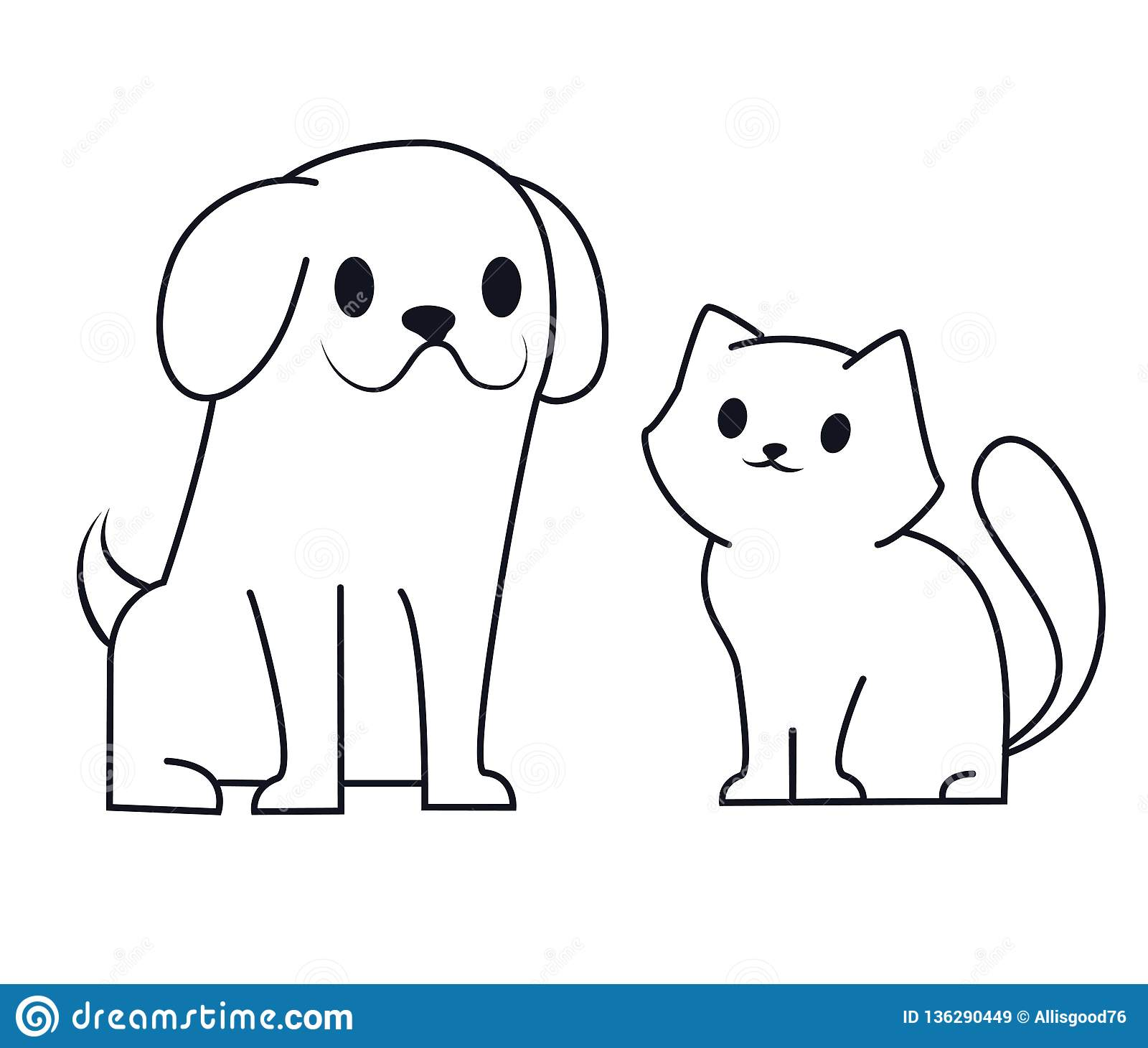 Simple Line Icon Design Of Puppy And Kitten Cute Little Cartoon