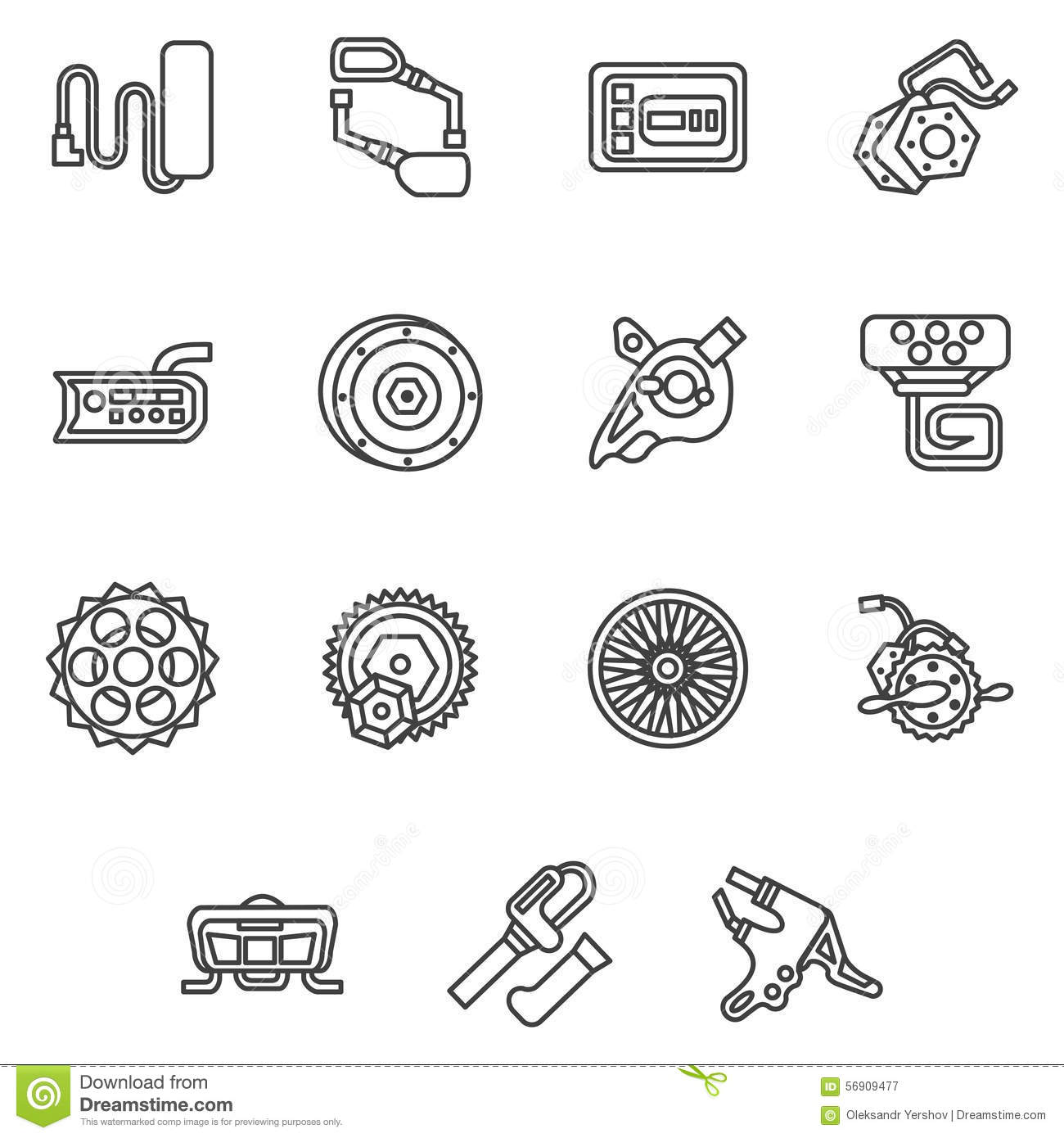 simple line icons for e-bike parts stock image