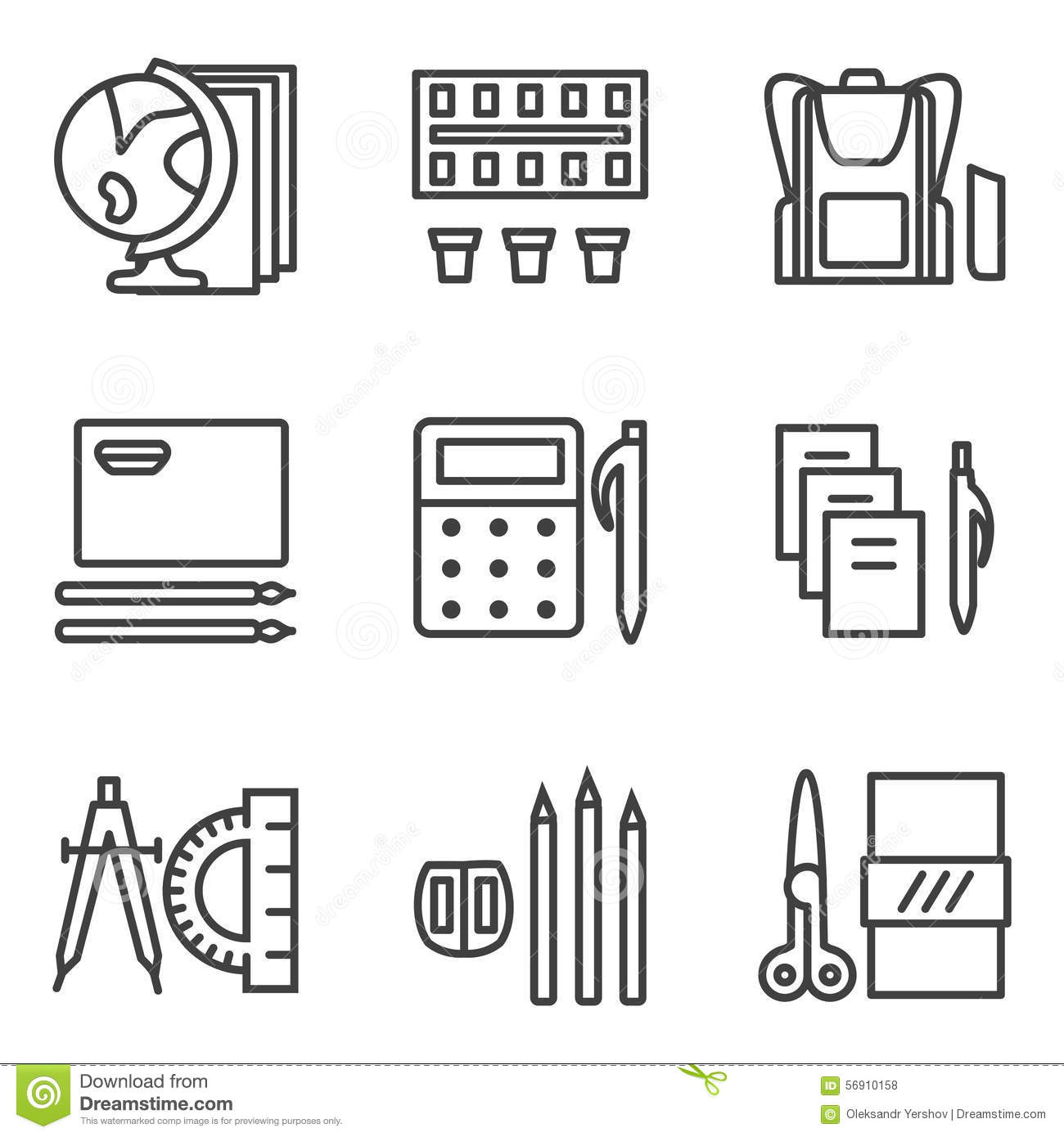 Line Drawing App : Simple line icons for school subjects stock photo image