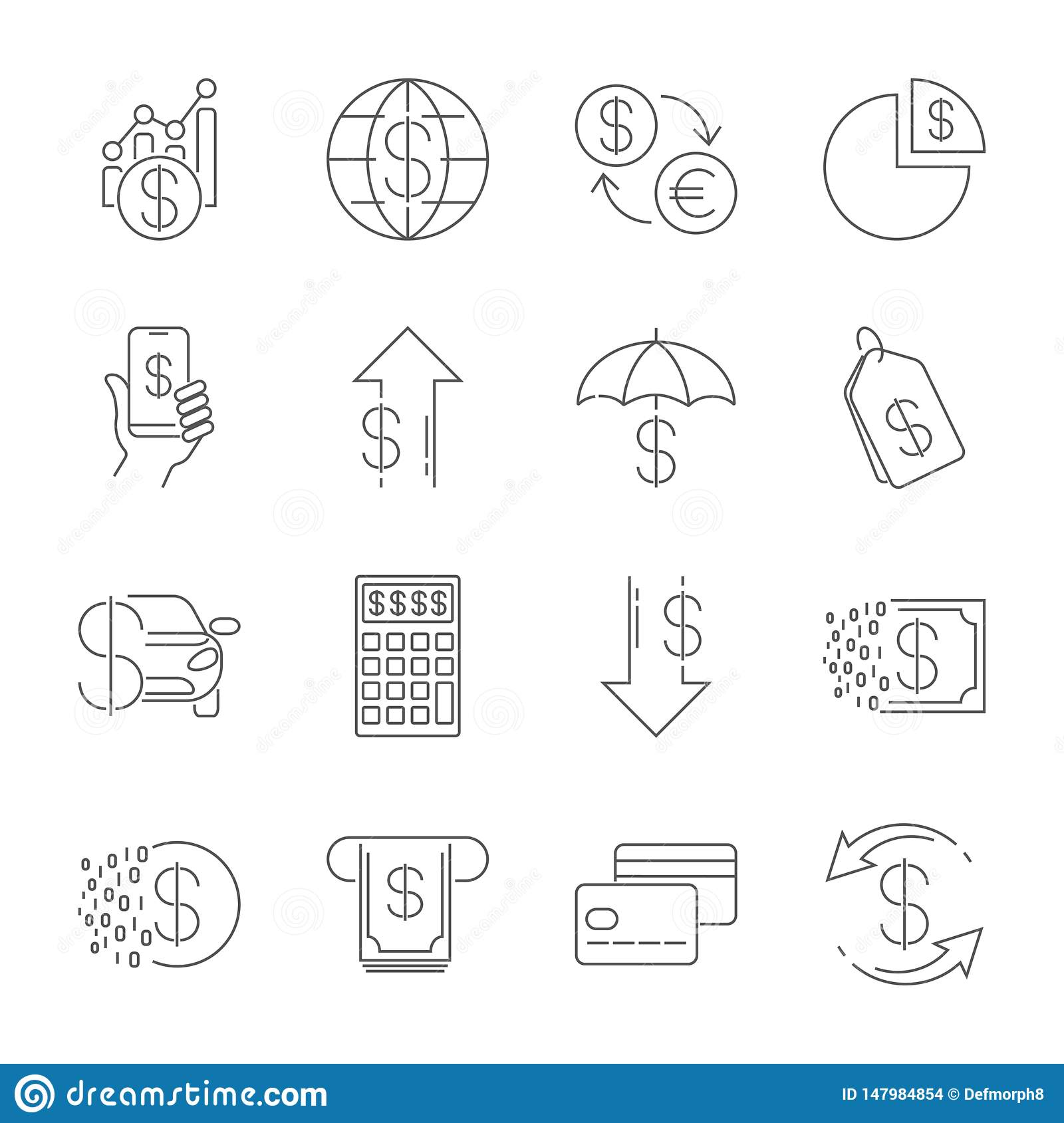 Simple line web icons set - money, finance, payments. Contains such Icons as Wallet, ATM, calculation and more. Editable