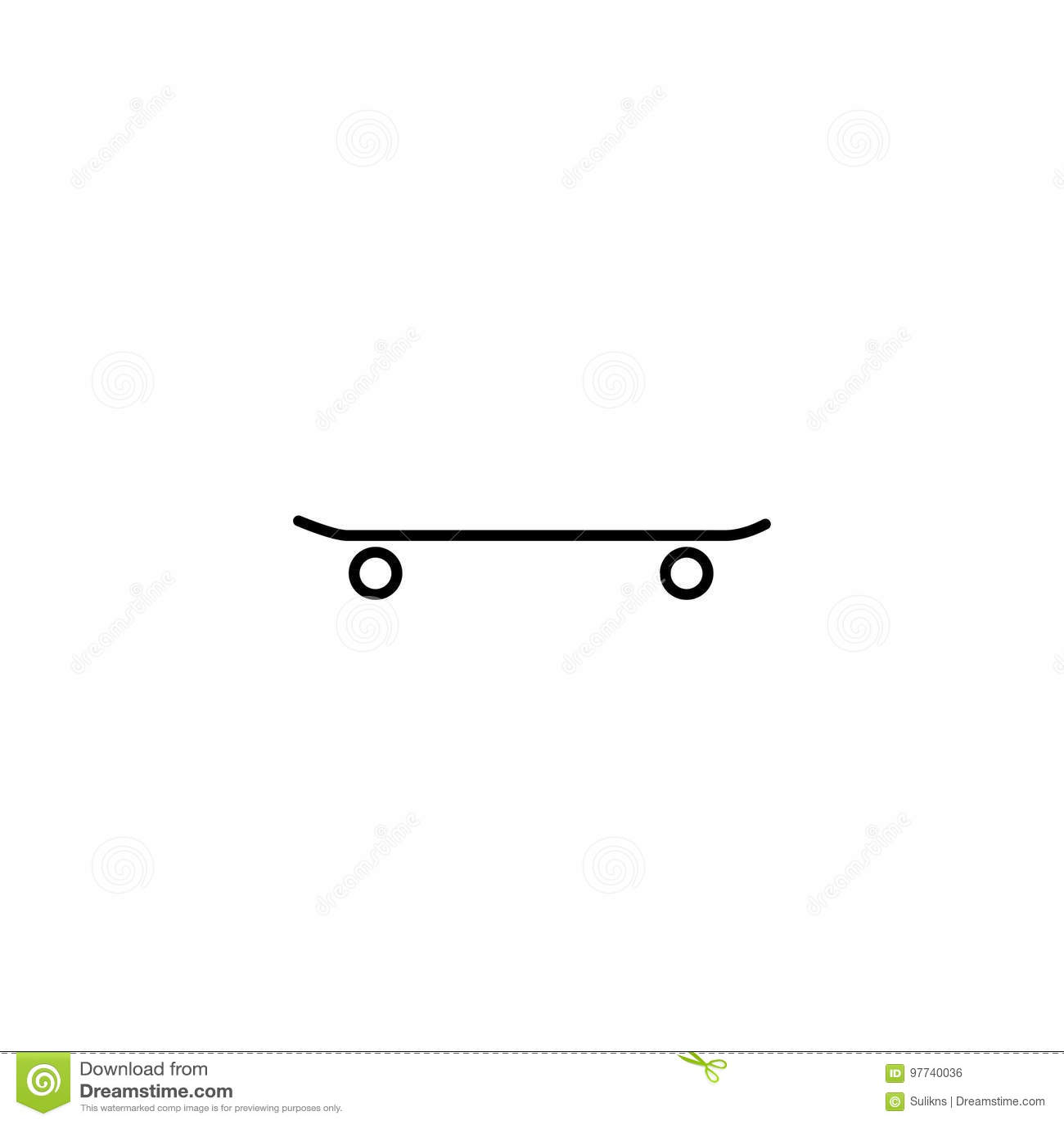 5e621f70b1edf Simple Linear Skateboard Vector Icon Stock Vector - Illustration of ...