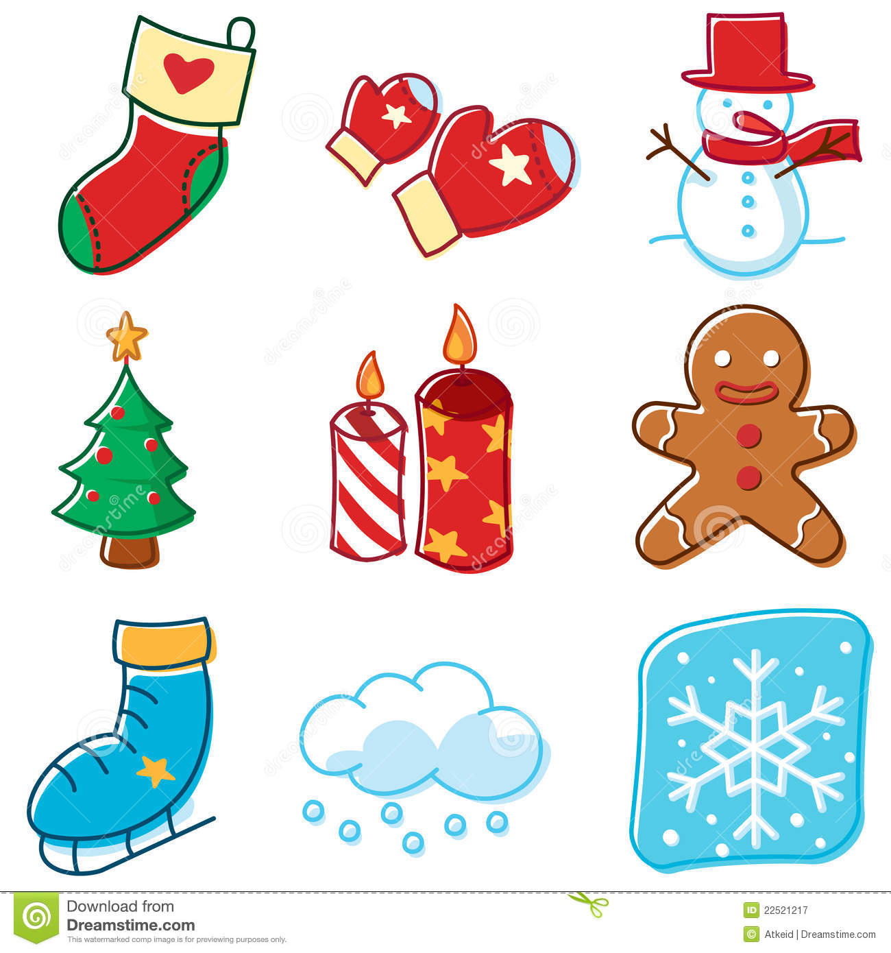 Simple Lines Winter Icons Royalty Free Stock Photography - Image ...
