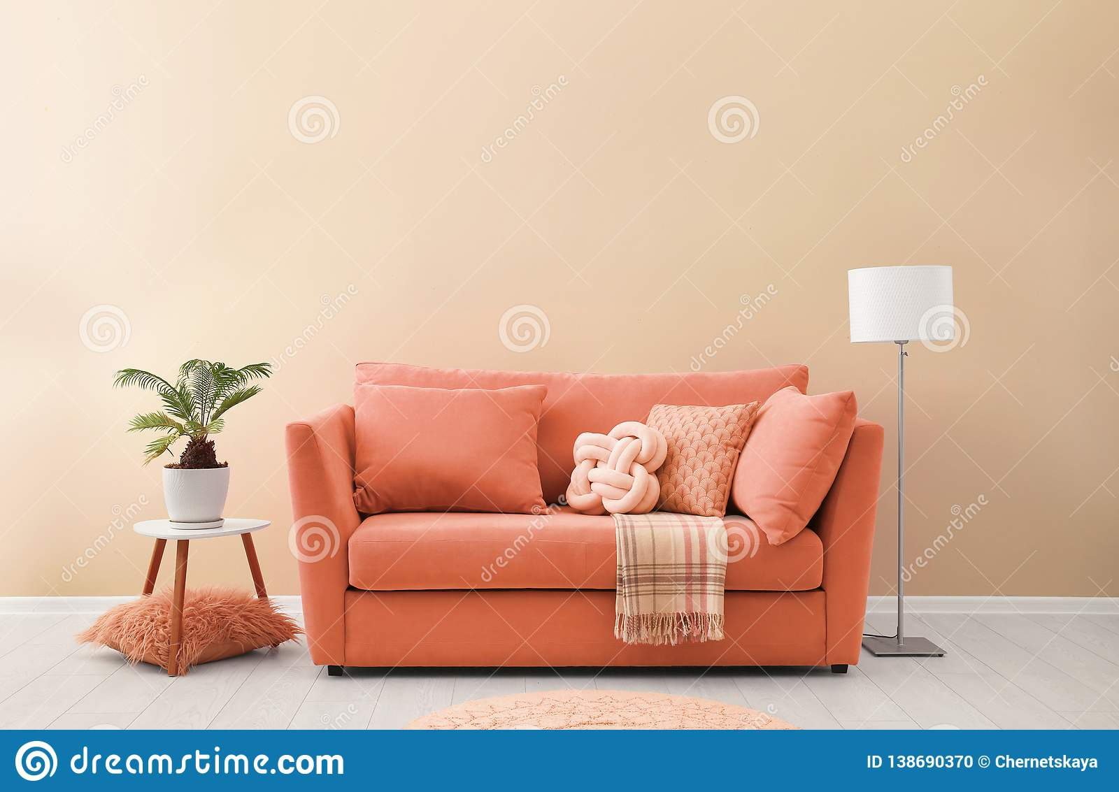 Simple Living Room Interior With Modern Sofa Near Color Wall ...